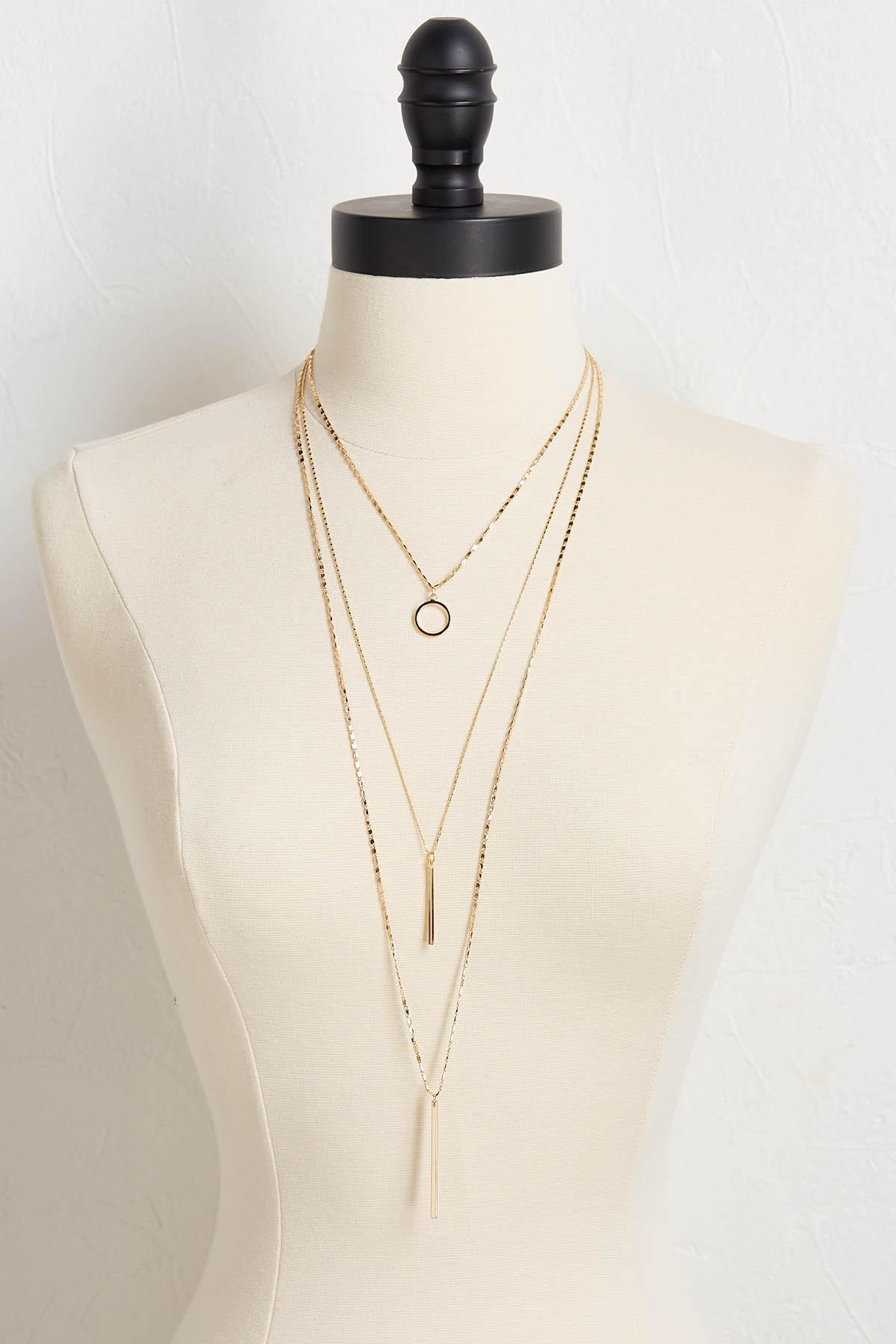 Textured Layered Pendant Necklace