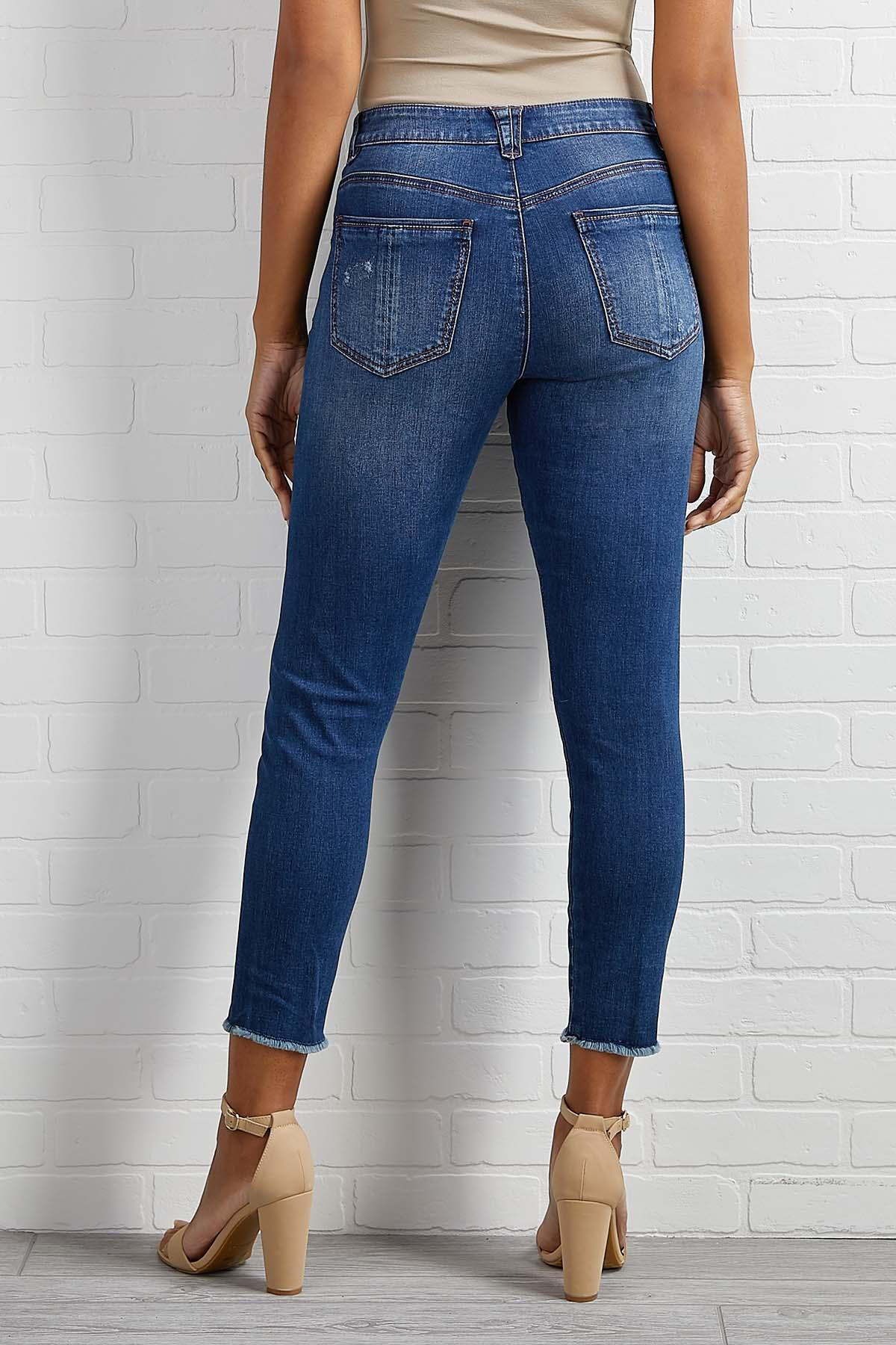 Frayed High Rise Skimmer Jeans