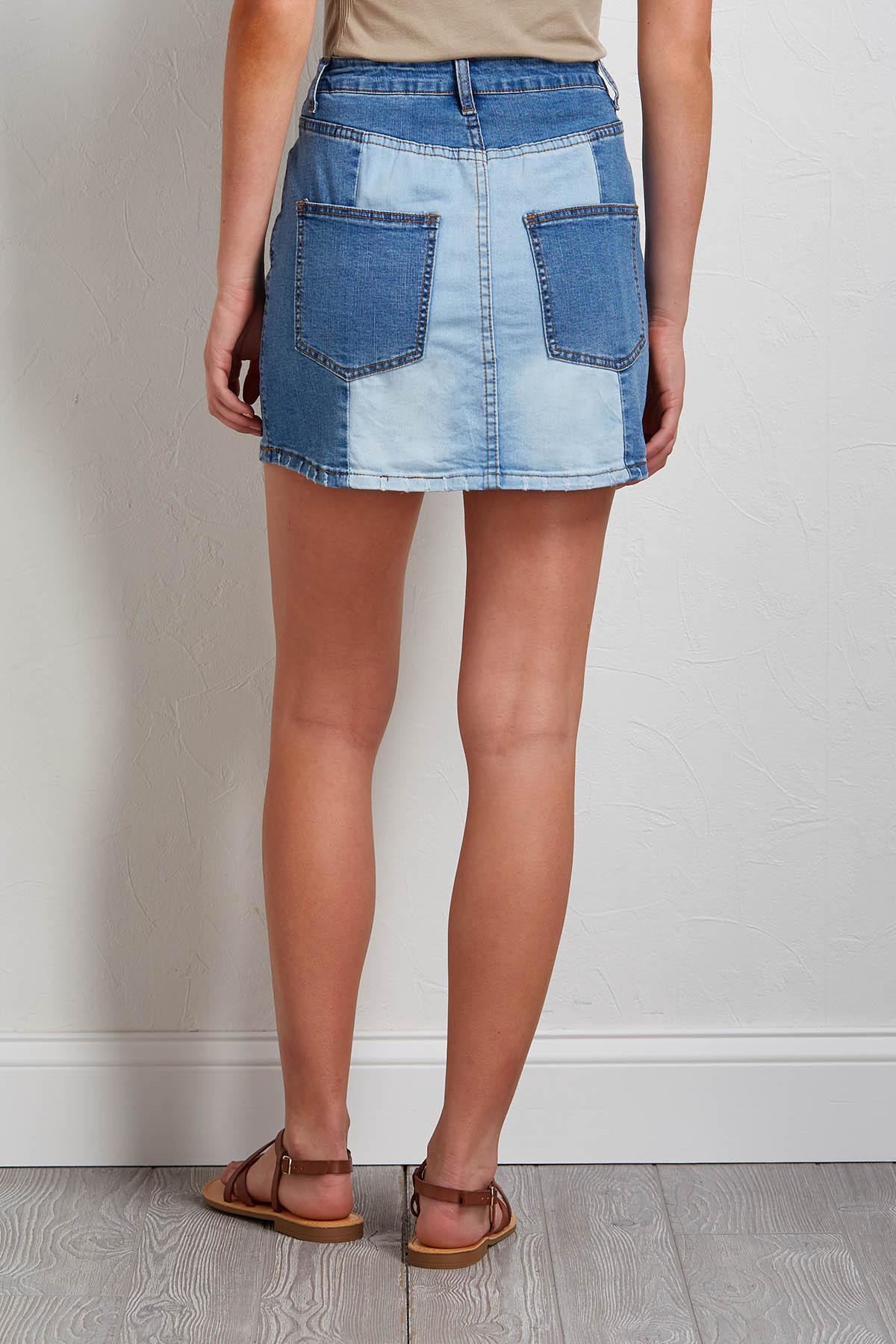 Colorblock Denim Mini Skirt