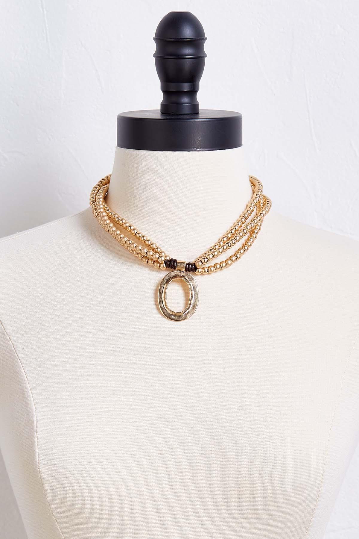 Metallic Bead Pendant Necklace