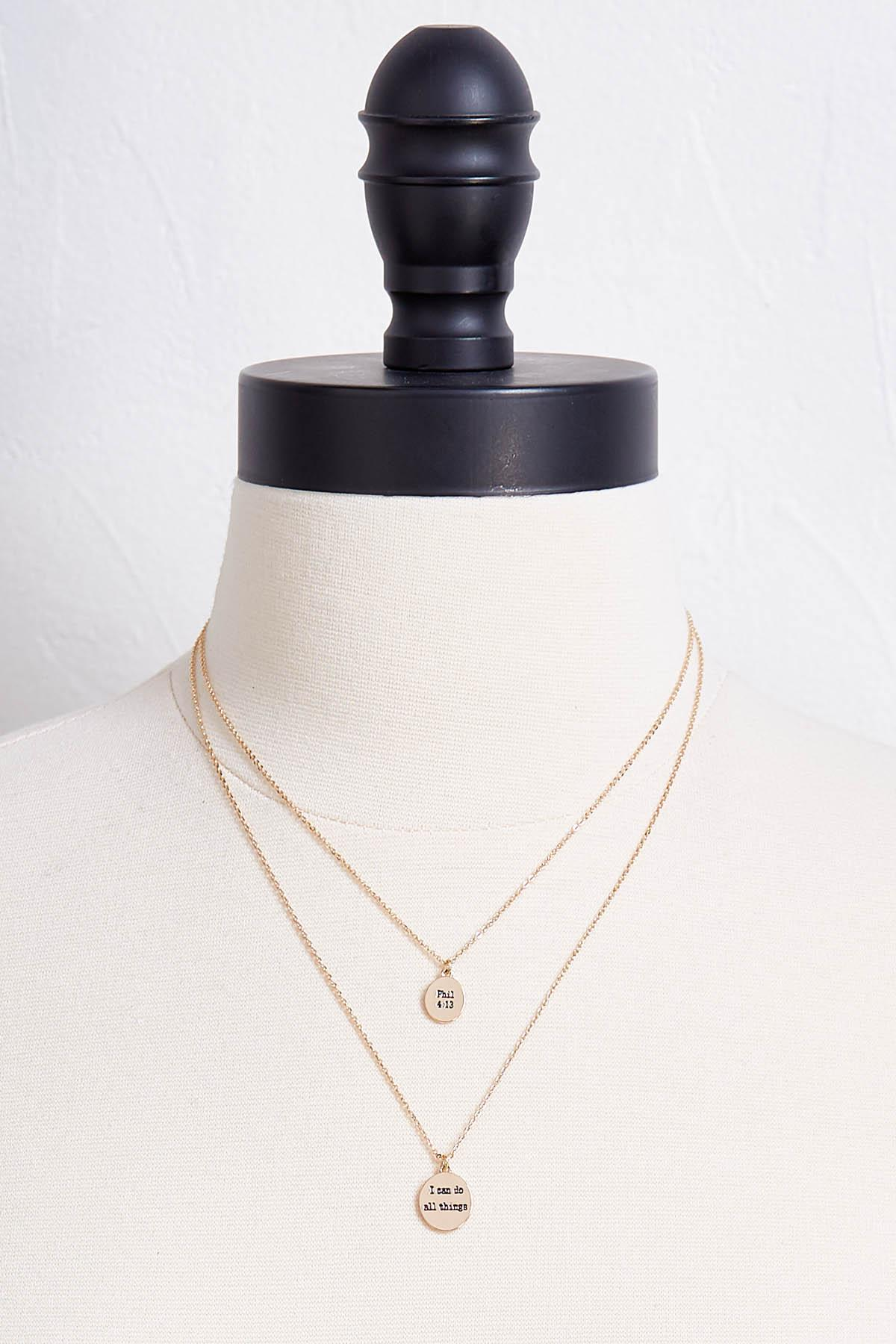 Inspirational Layered Disk Necklace