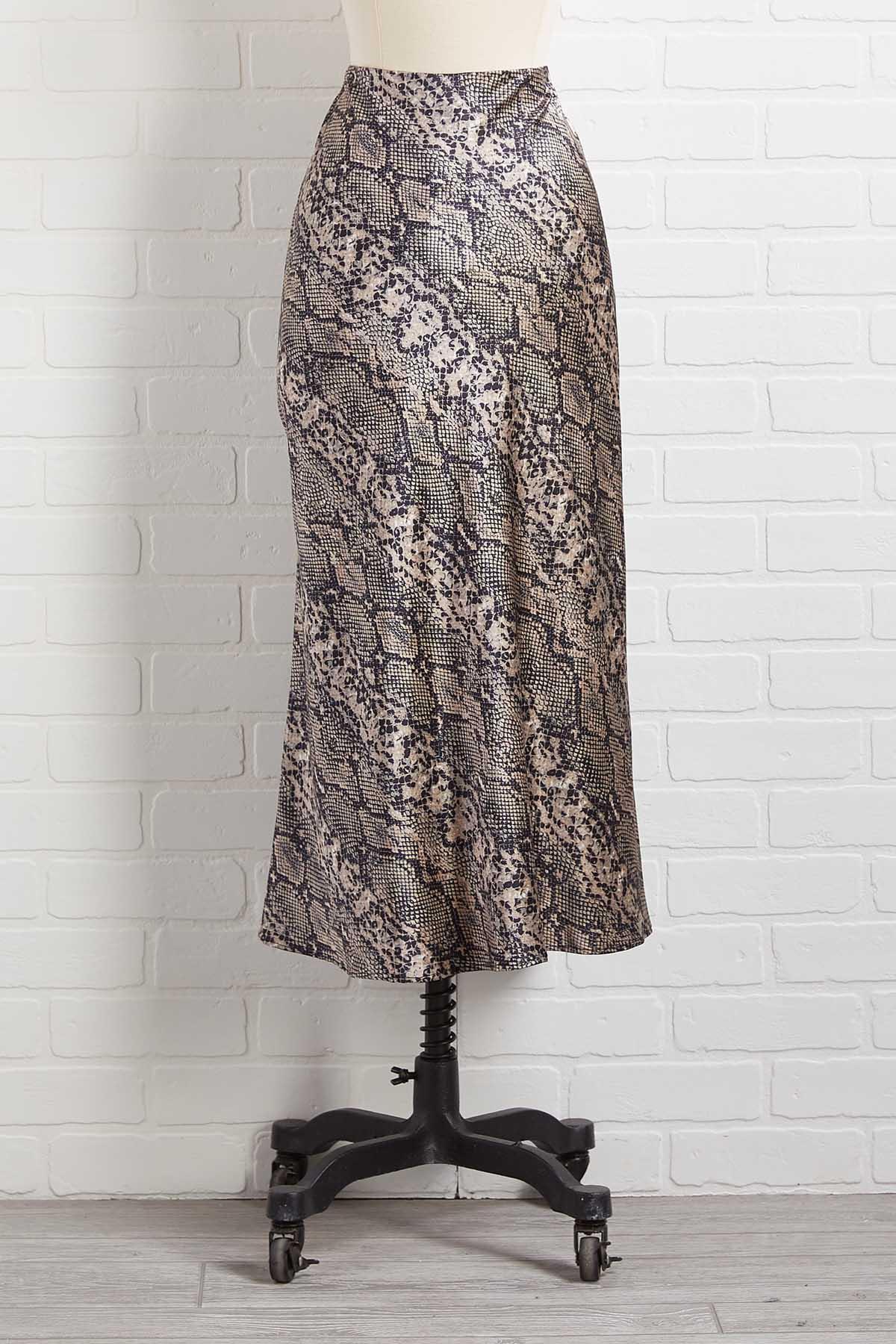 Silky Snakeskin Midi Skirt