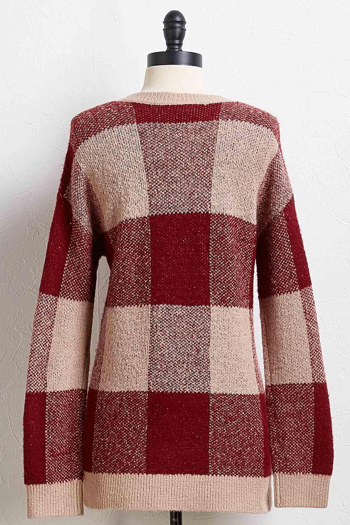Wine Plaid Sweater