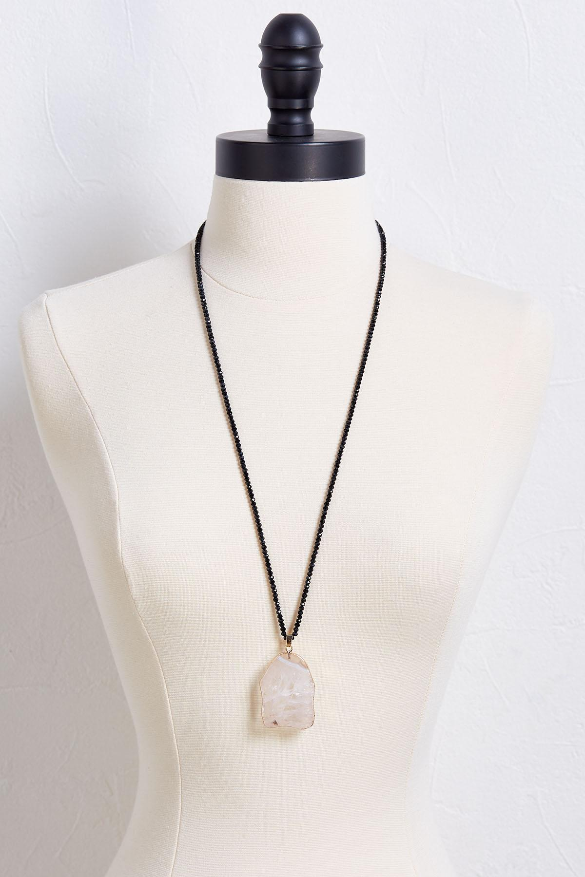 Crystal Bead Stone Pendant Necklace