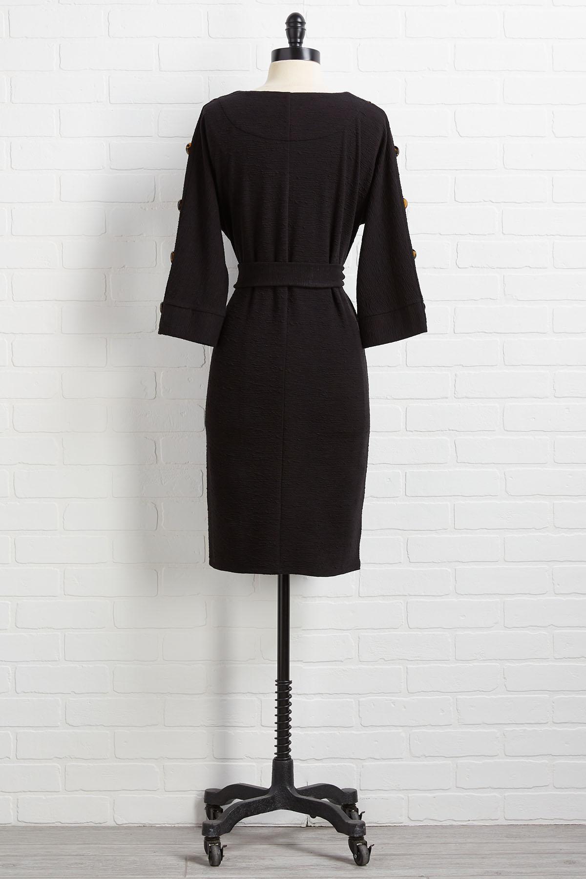 Button Sleeve Shift Dress