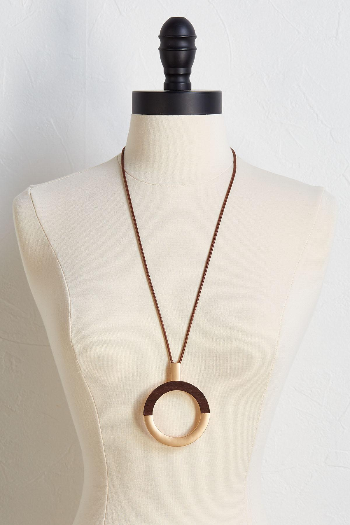 Wood And Gold Circle Necklace