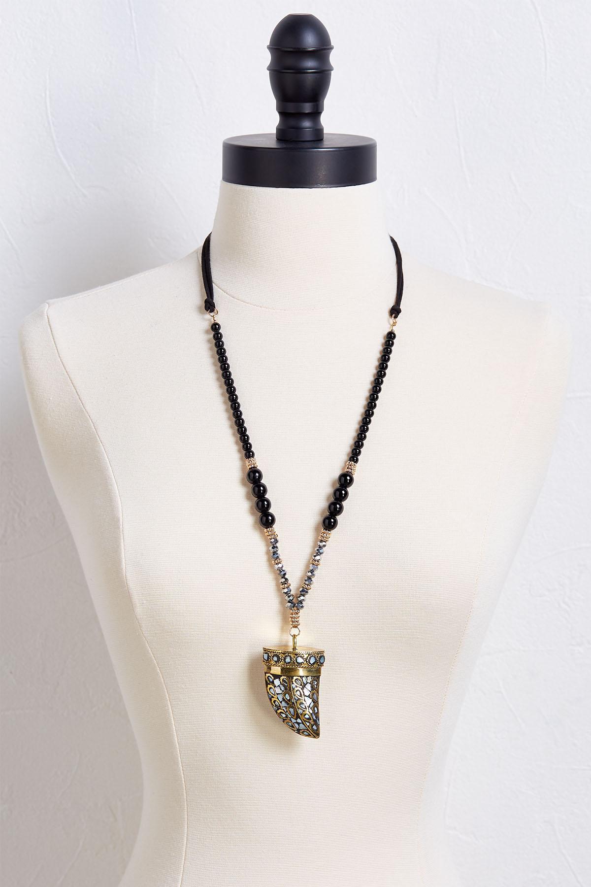Embellished Horn Necklace