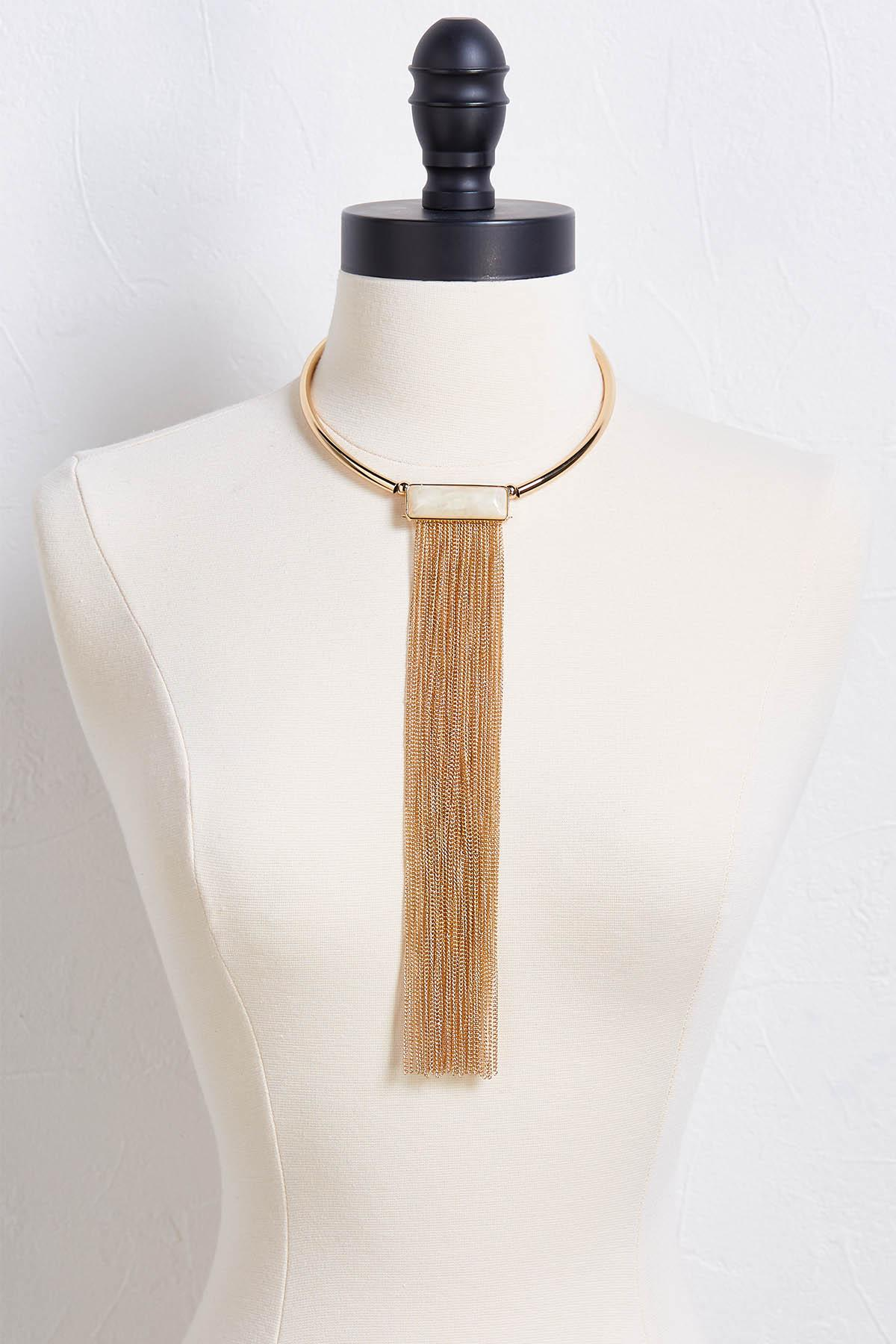 Stone And Chain Tassel Necklace