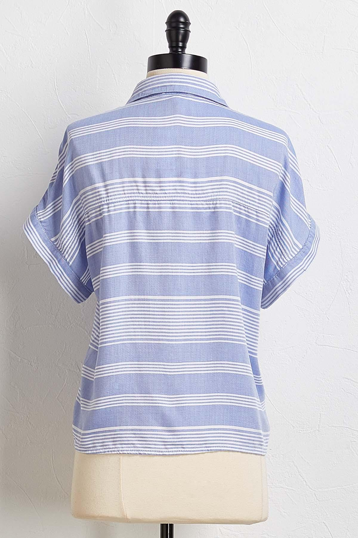 Blue Striped Button Top