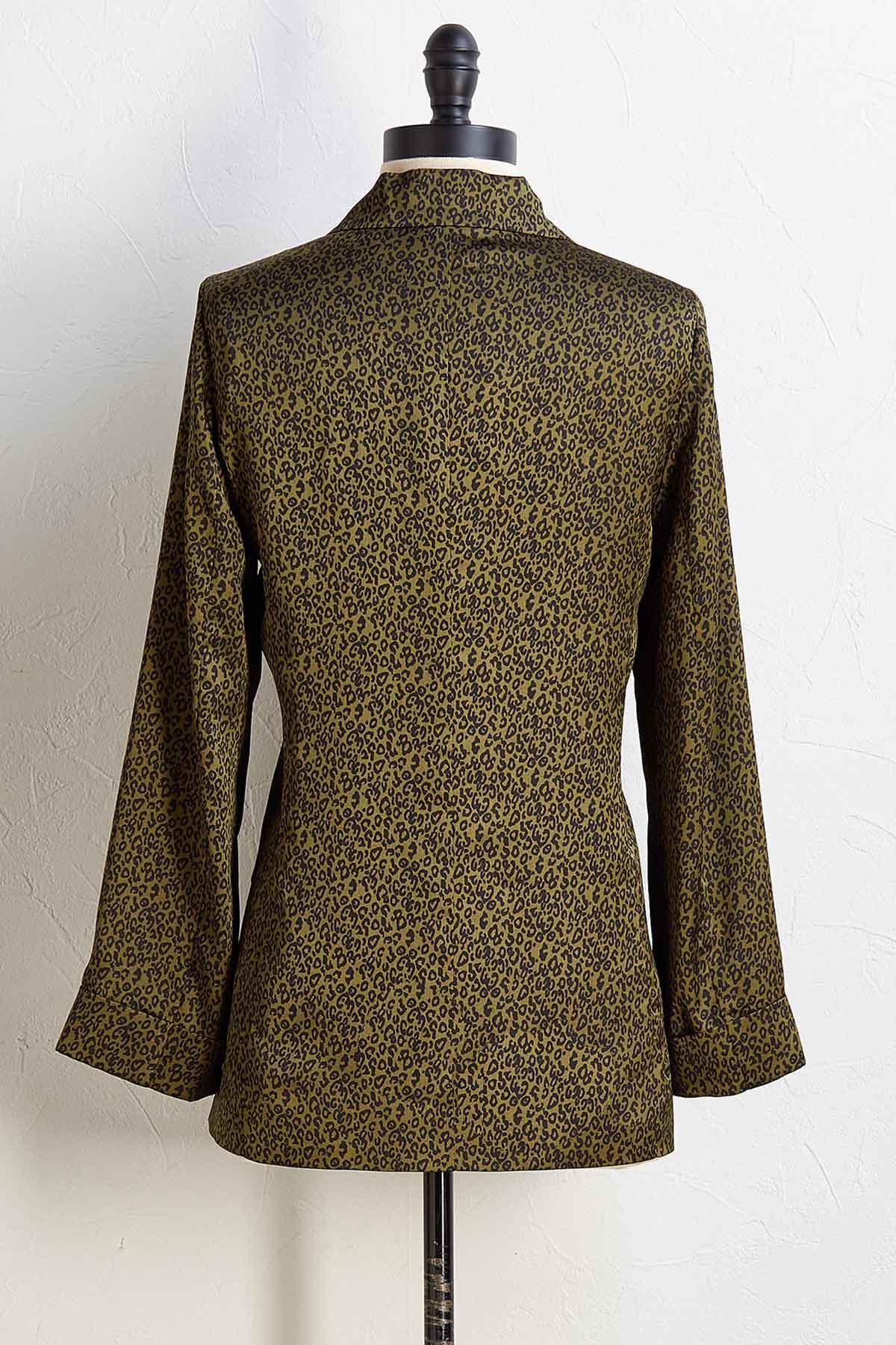 Satin Leopard Blazer