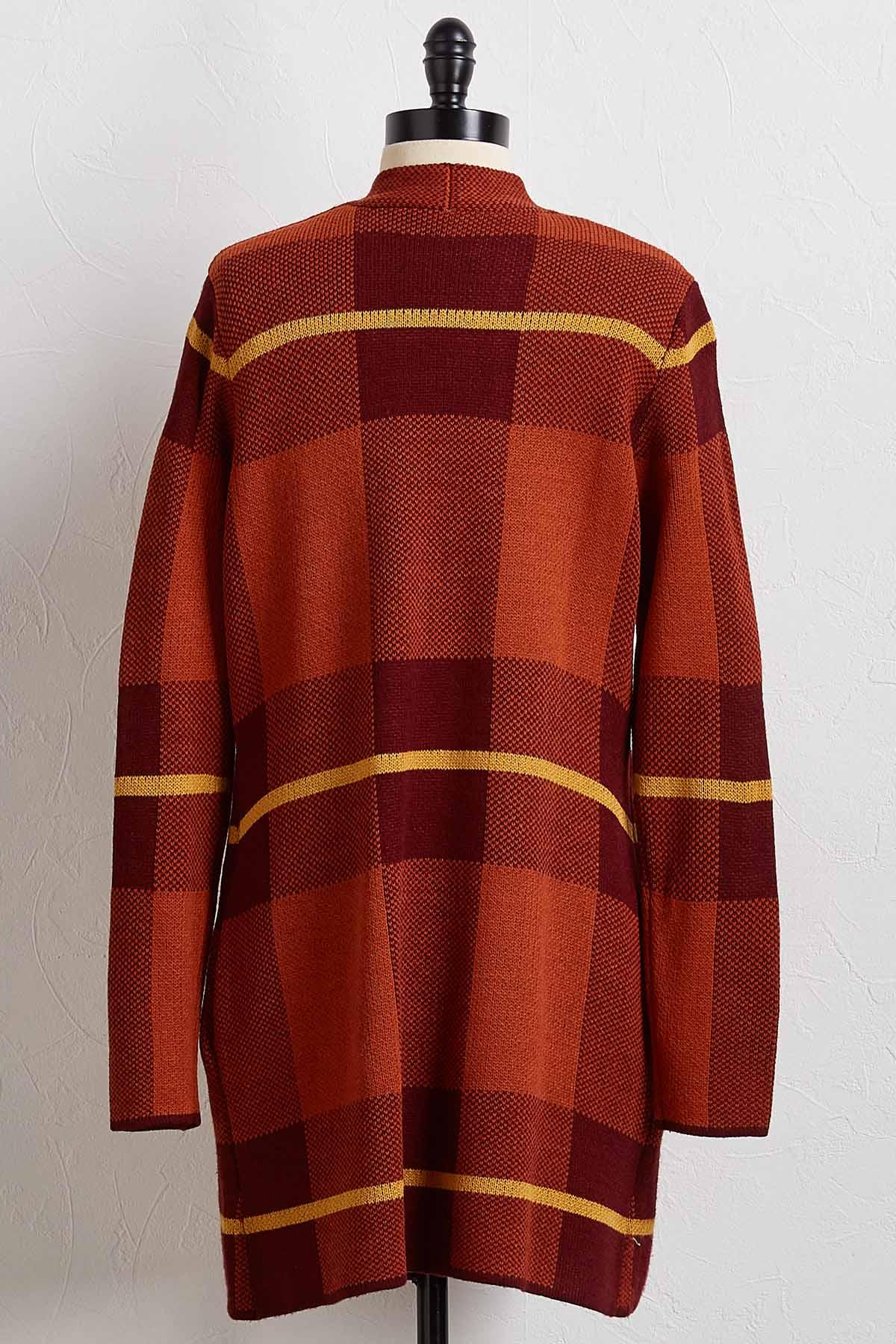 Autumn Spice Plaid Cardigan