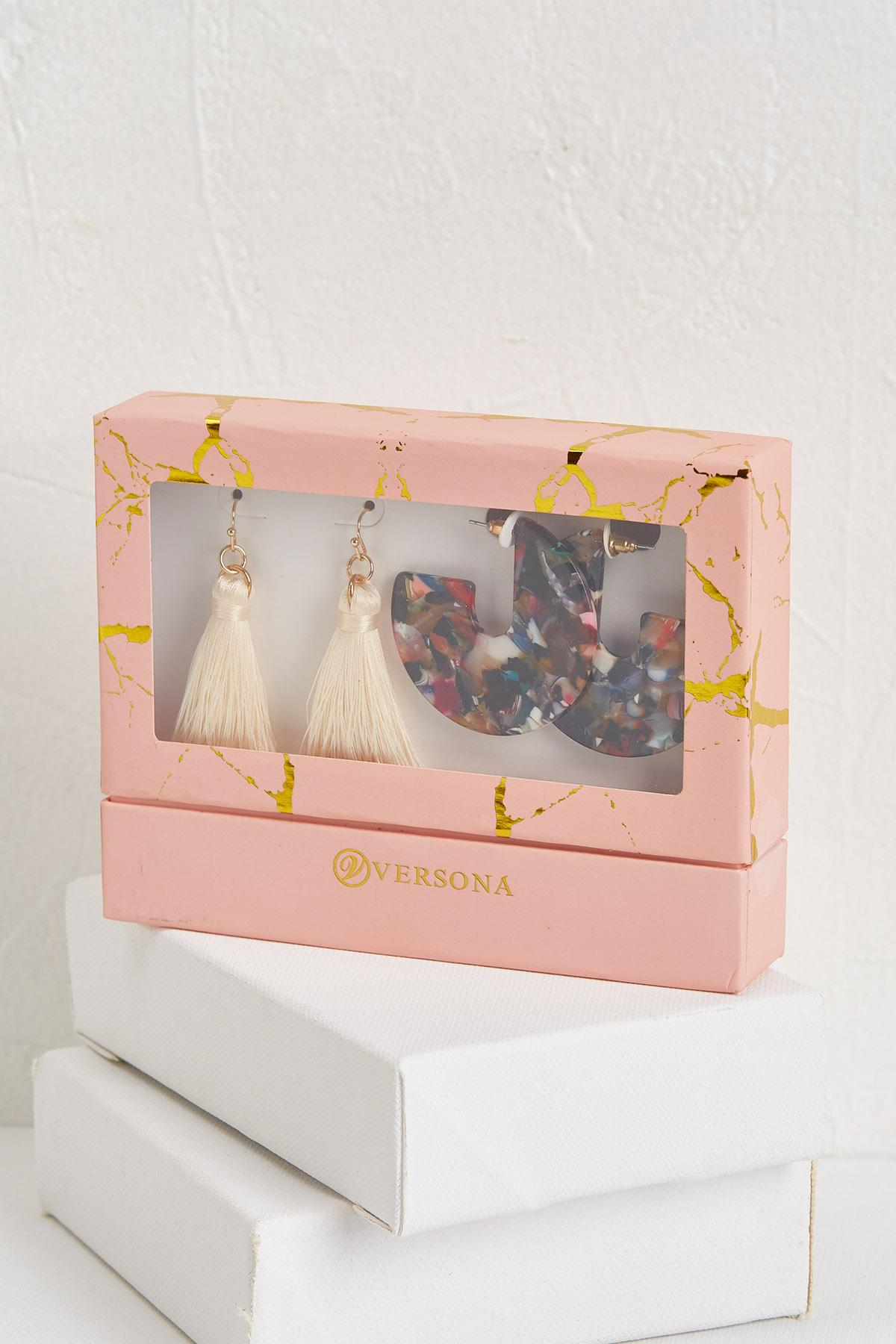 Tassel And Multi Lucite Earring Set