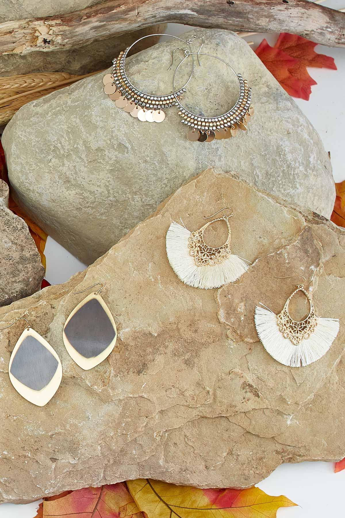 Brushed Diamond Shaped Earrings