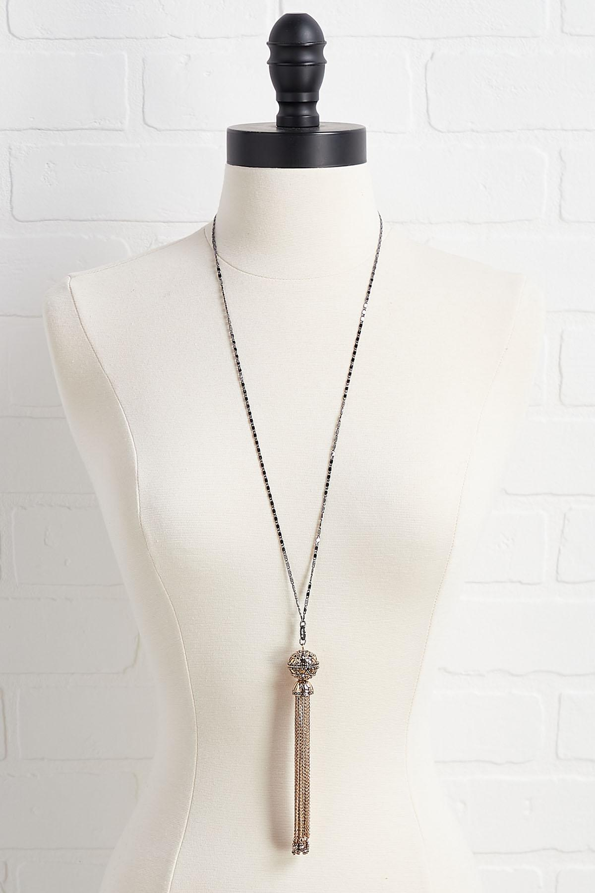 Two- Toned Chain Tassel Necklace