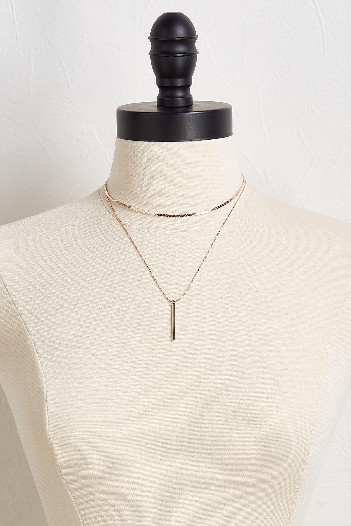 Layered Cut Chain Pendant Necklace