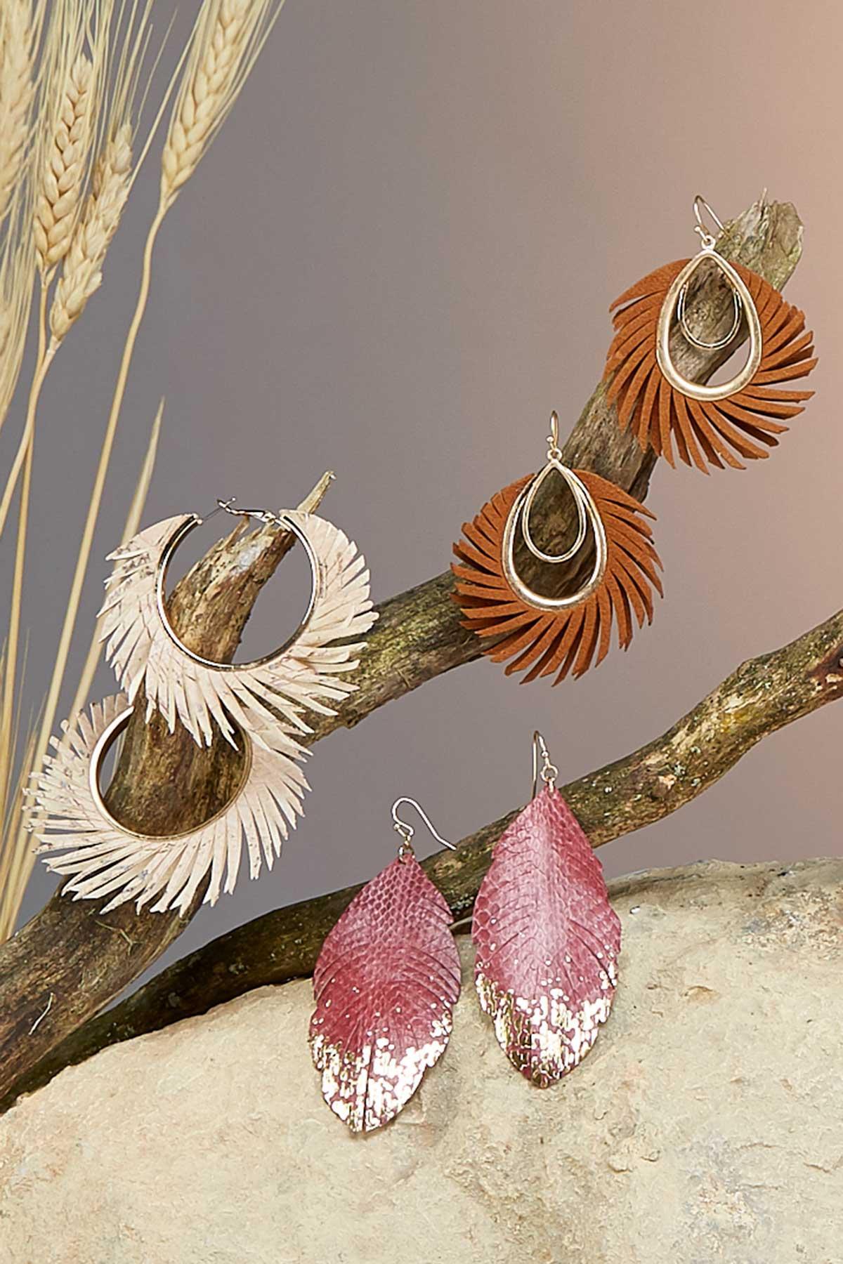 Wispy Faux Leather Oval Earrings