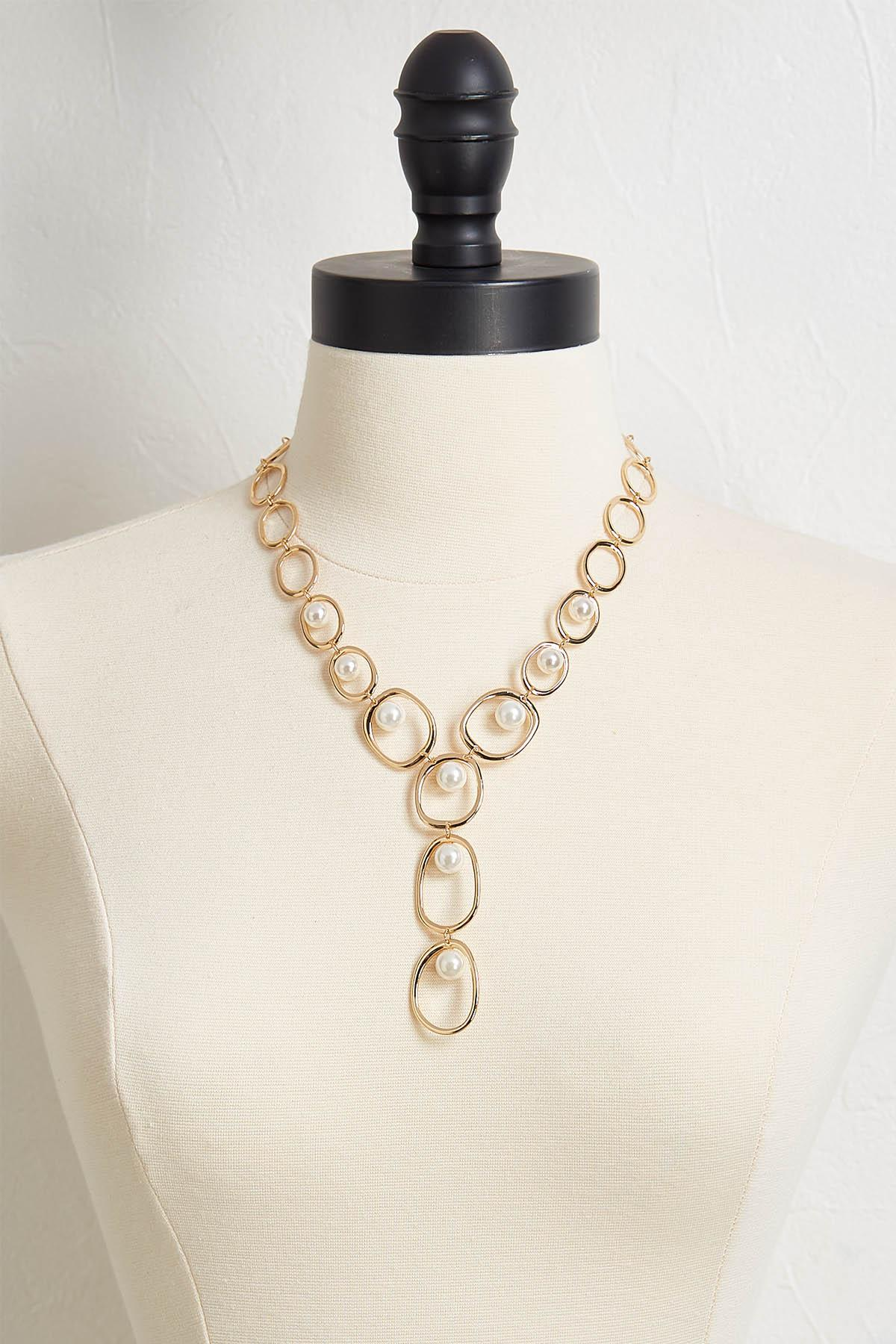 Open Link Pearl Y- Necklace