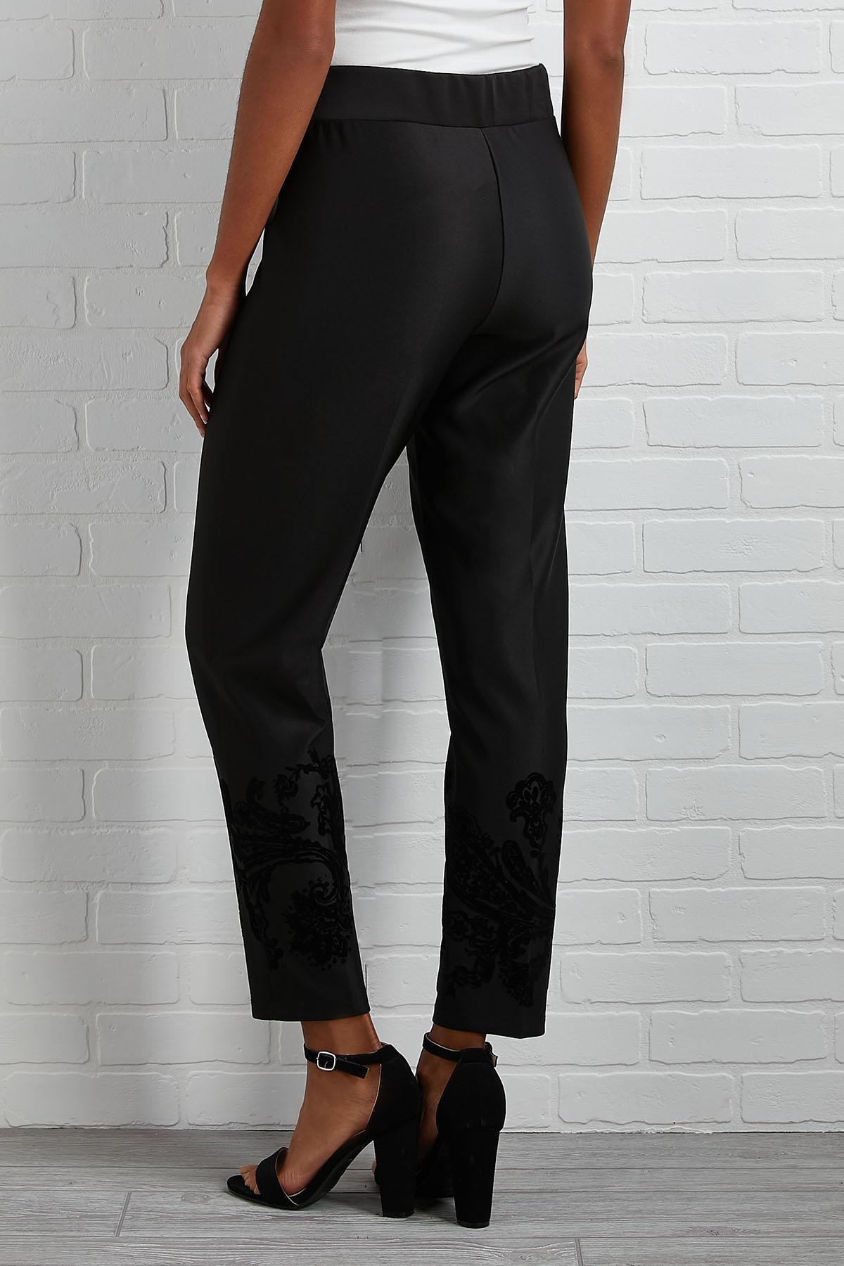 Flocked Black Pants