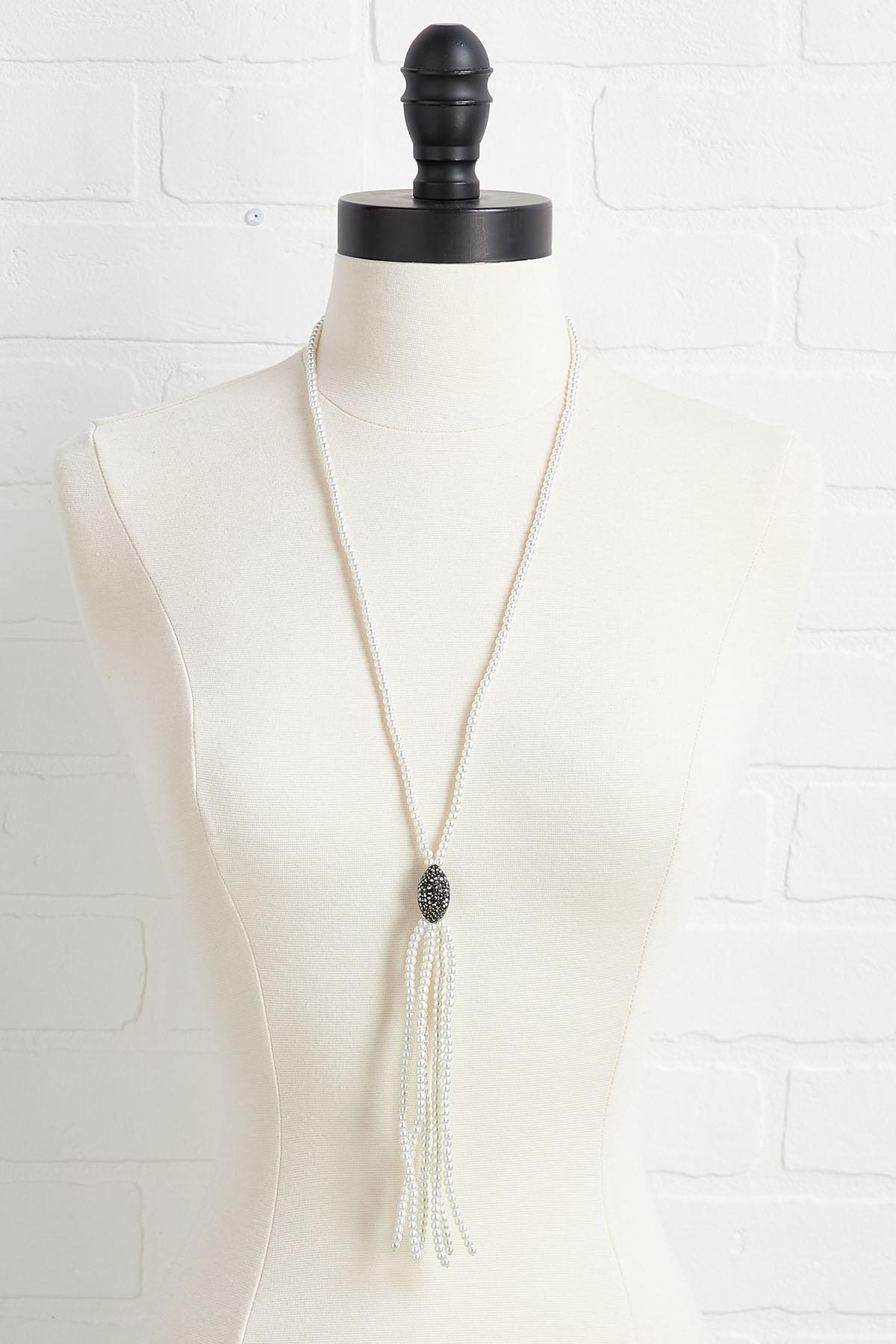Tasseled Pearl And Stone Necklace