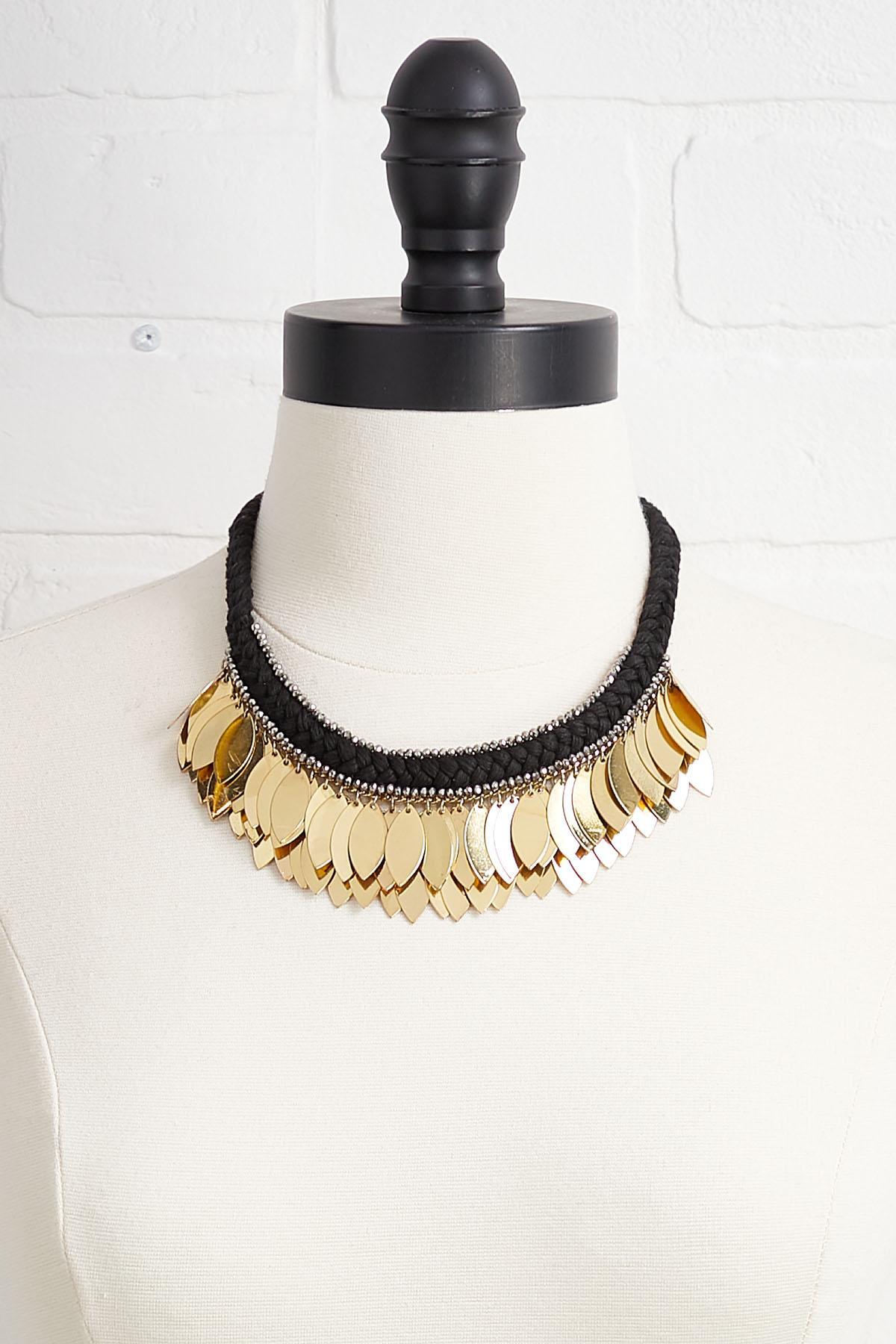 Metal Fringe Bib Necklace