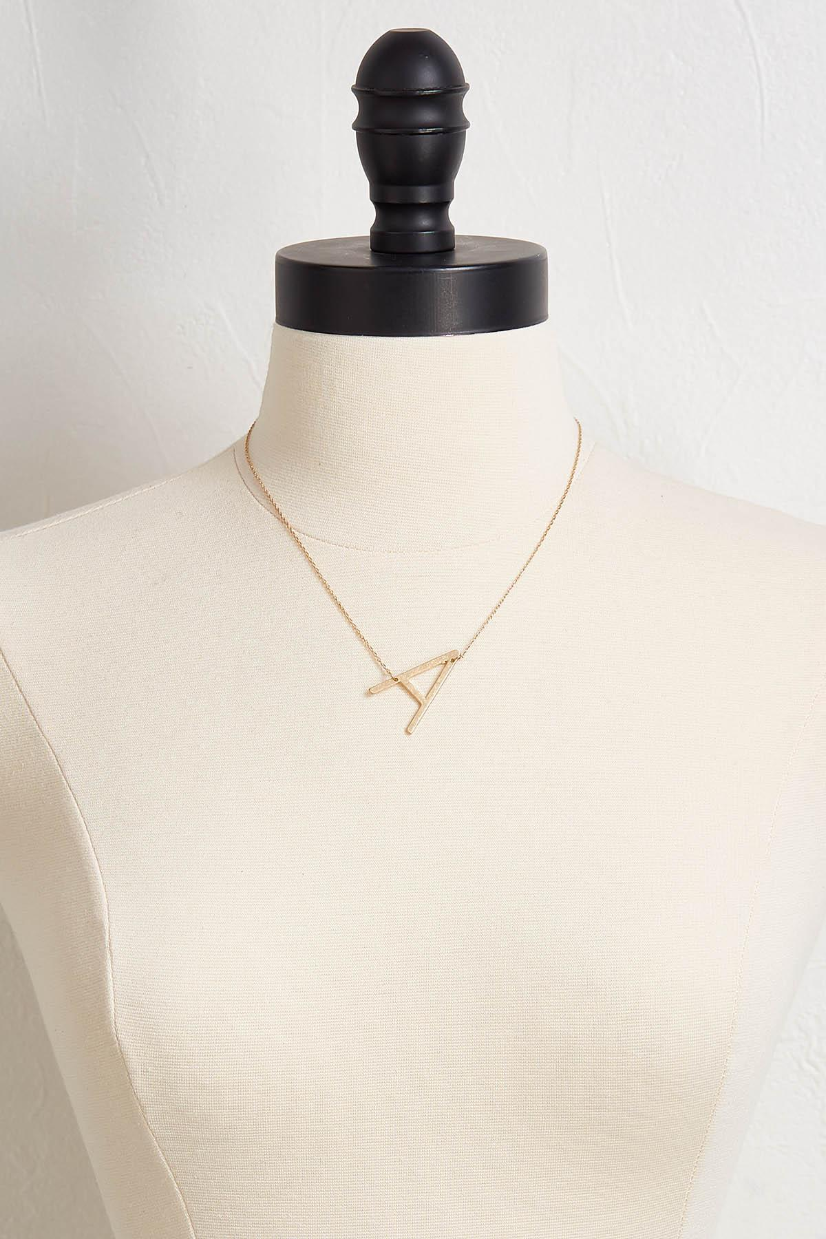 Diagonal E Pendant Necklace