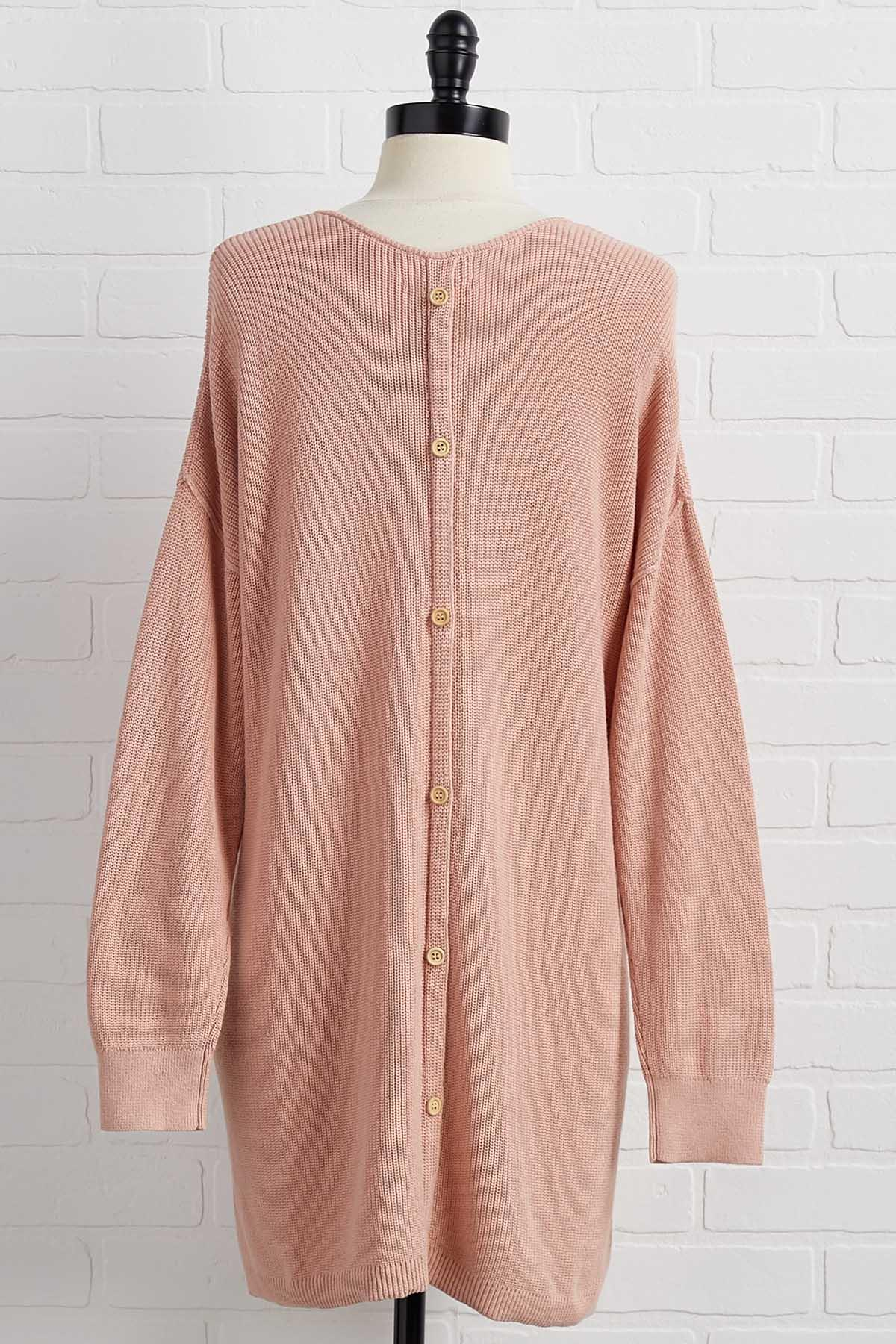 Don ` T Look Button Back Sweater