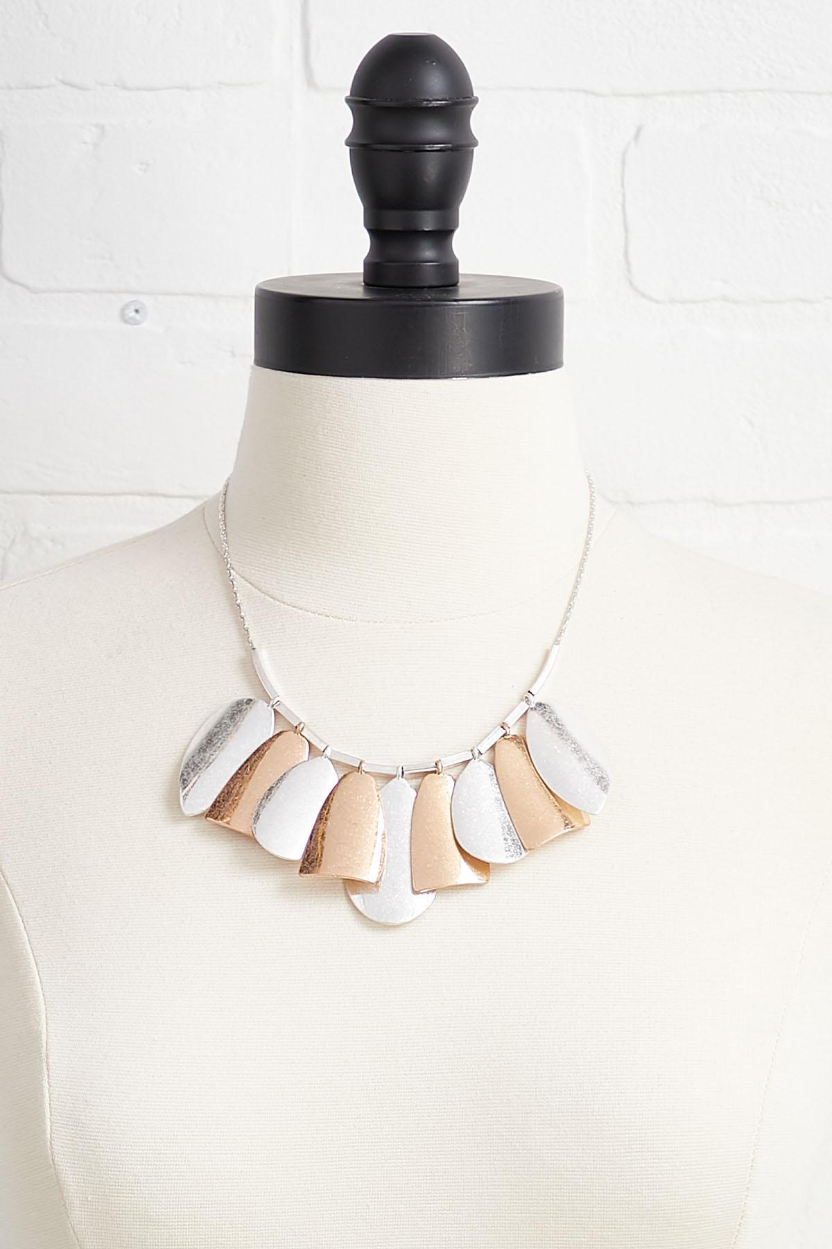 Metal Petal Bib Necklace
