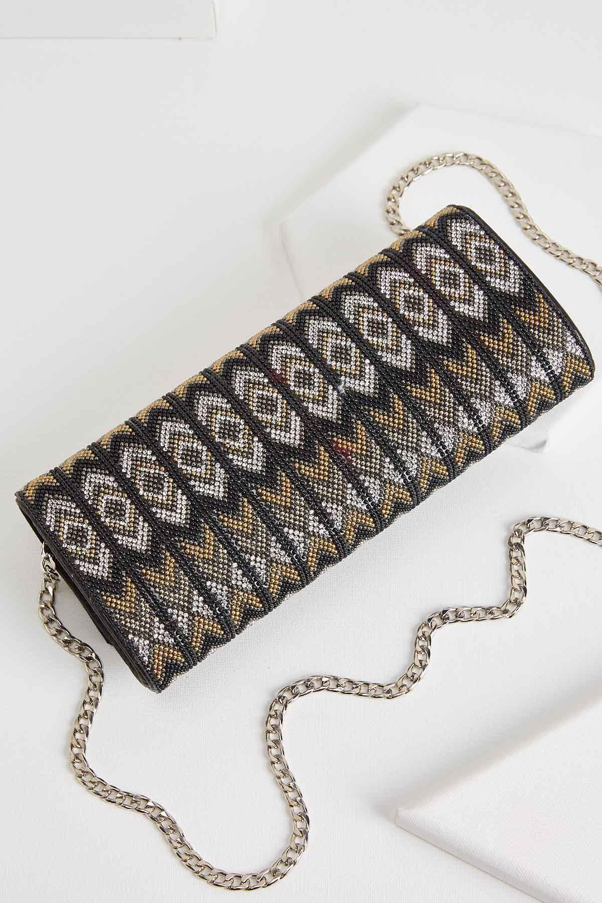 Chevron Bead Glam Bag