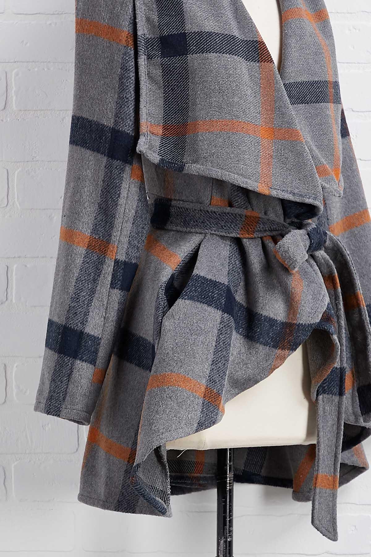 Plaid Tie Front Coat