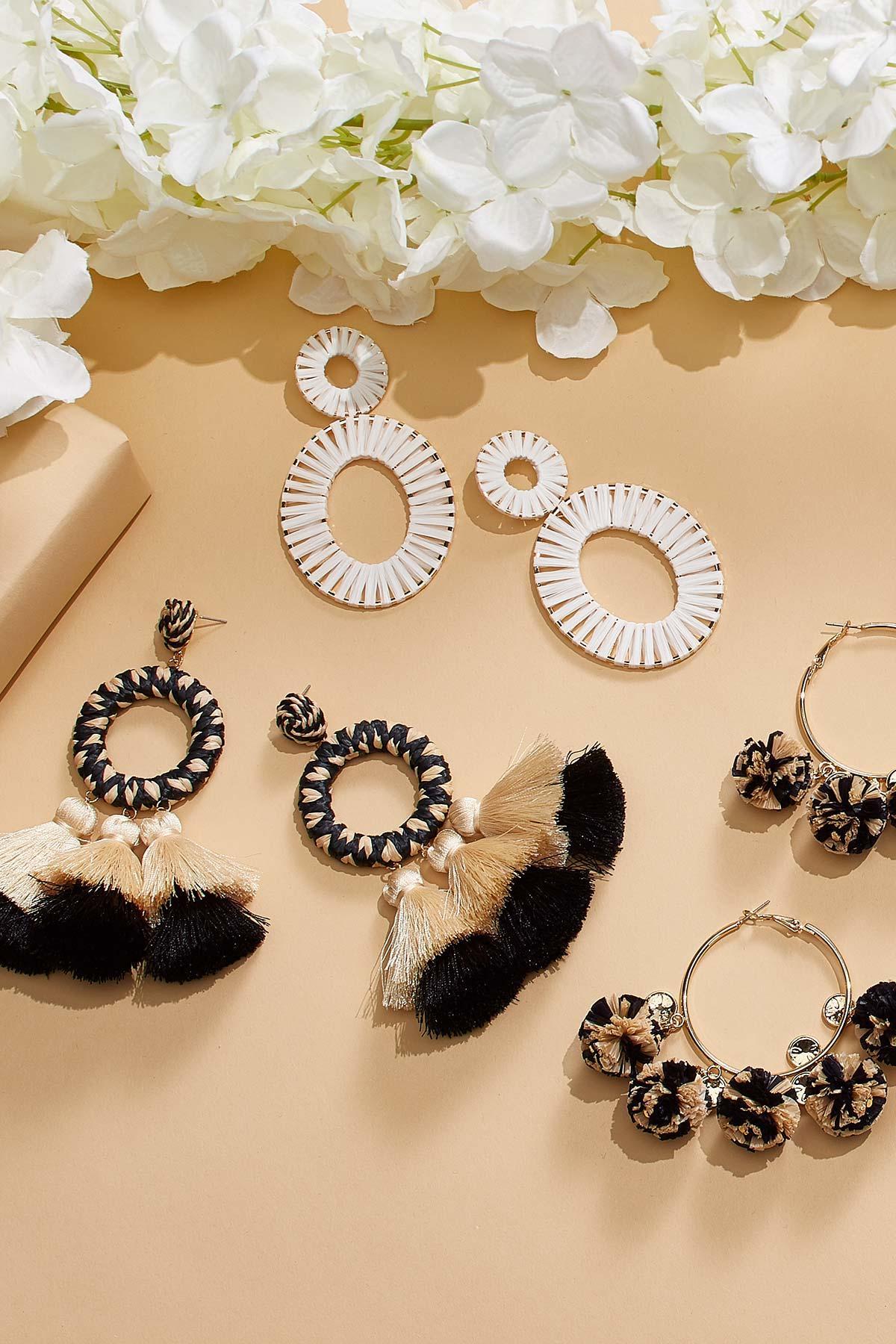 Statement Raffia Tassel Earrings