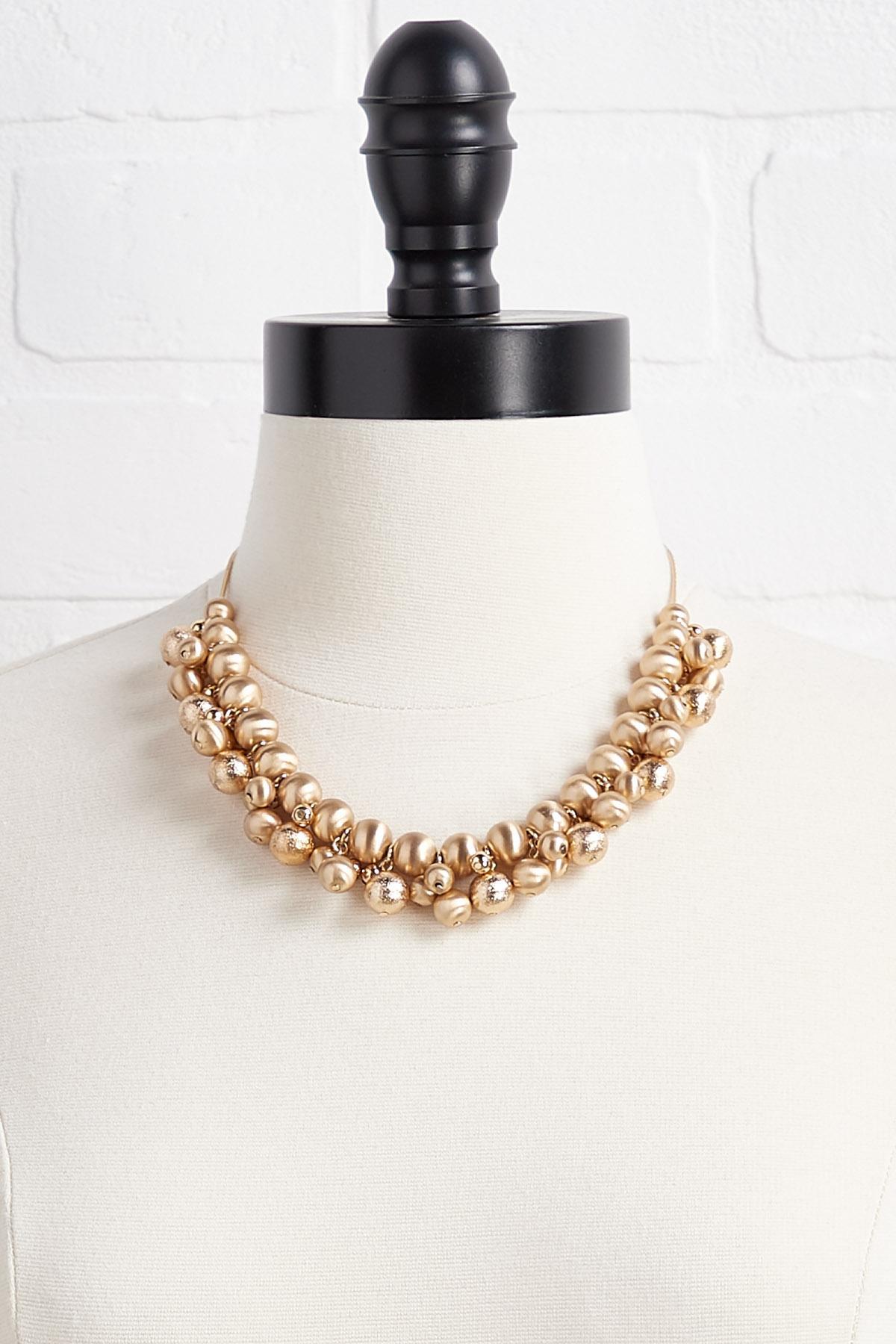 Metal Ball Bib Necklace