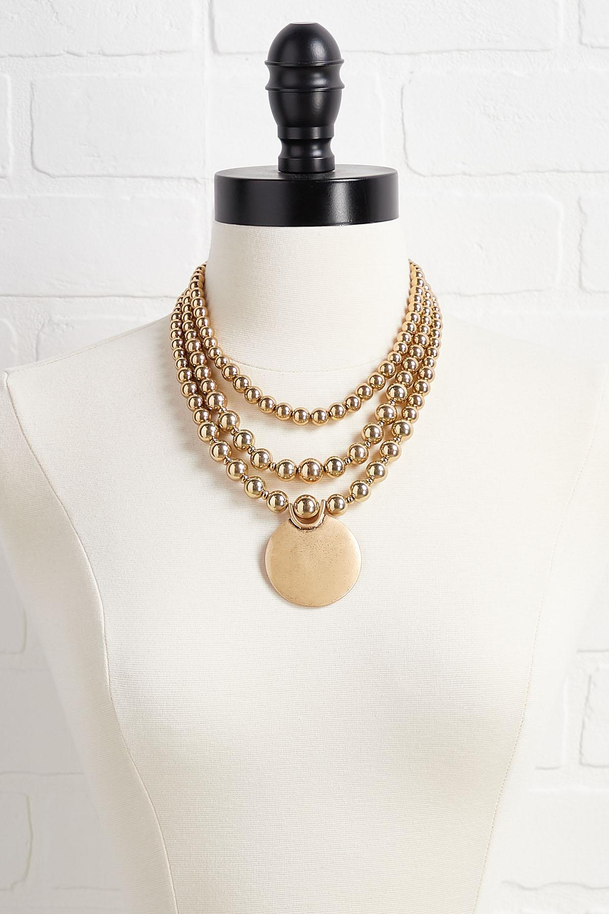 Beaded Gold Pendant Necklace
