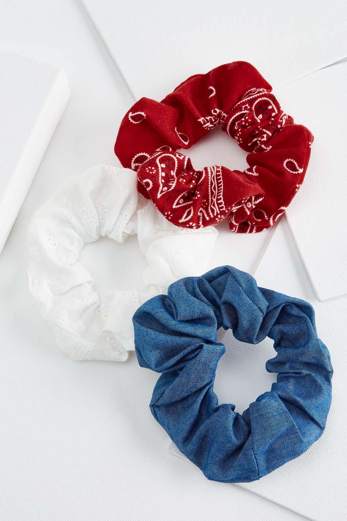 Red, White & Blue Scrunchie Set