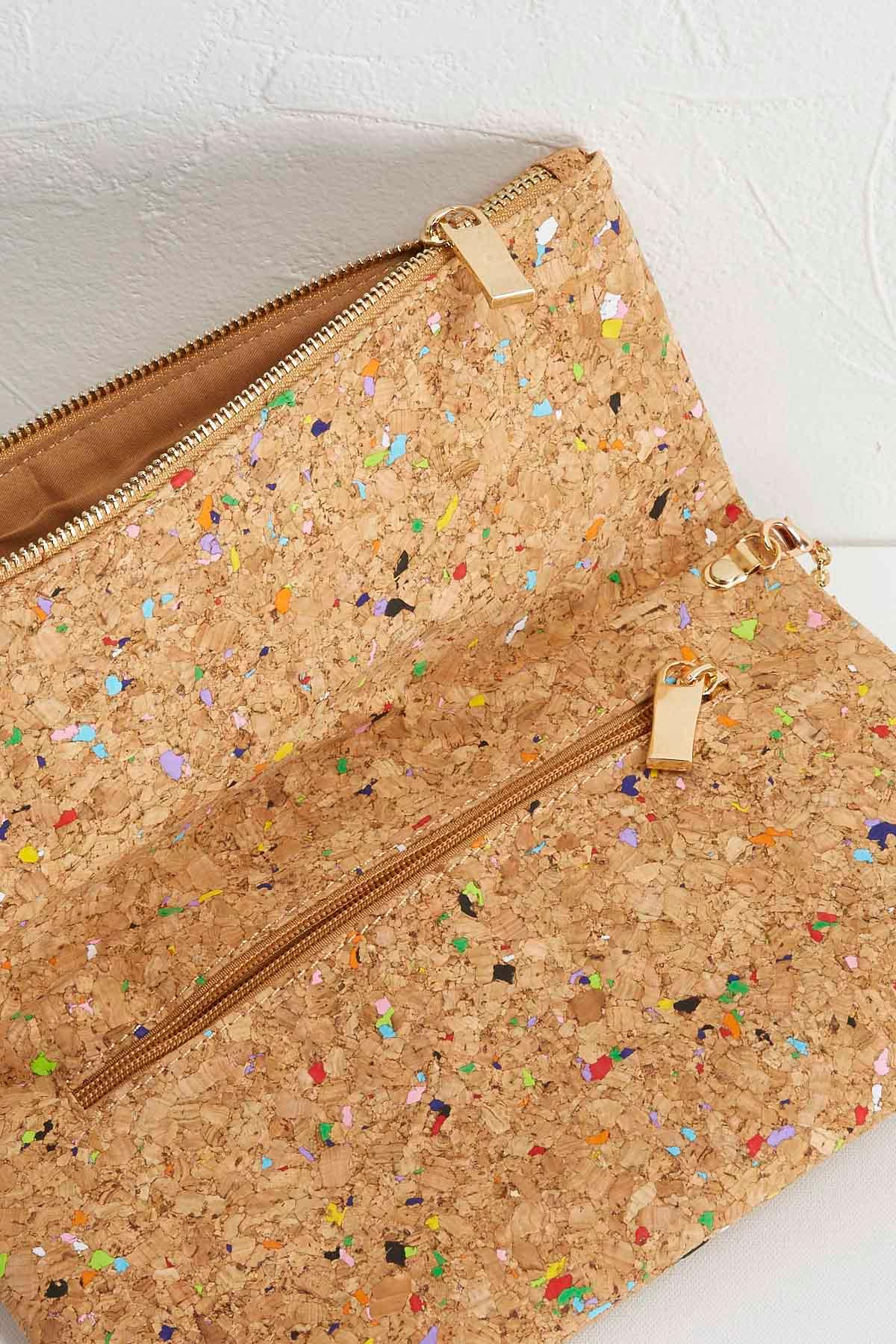 Paint Splash Foldover Cork Clutch