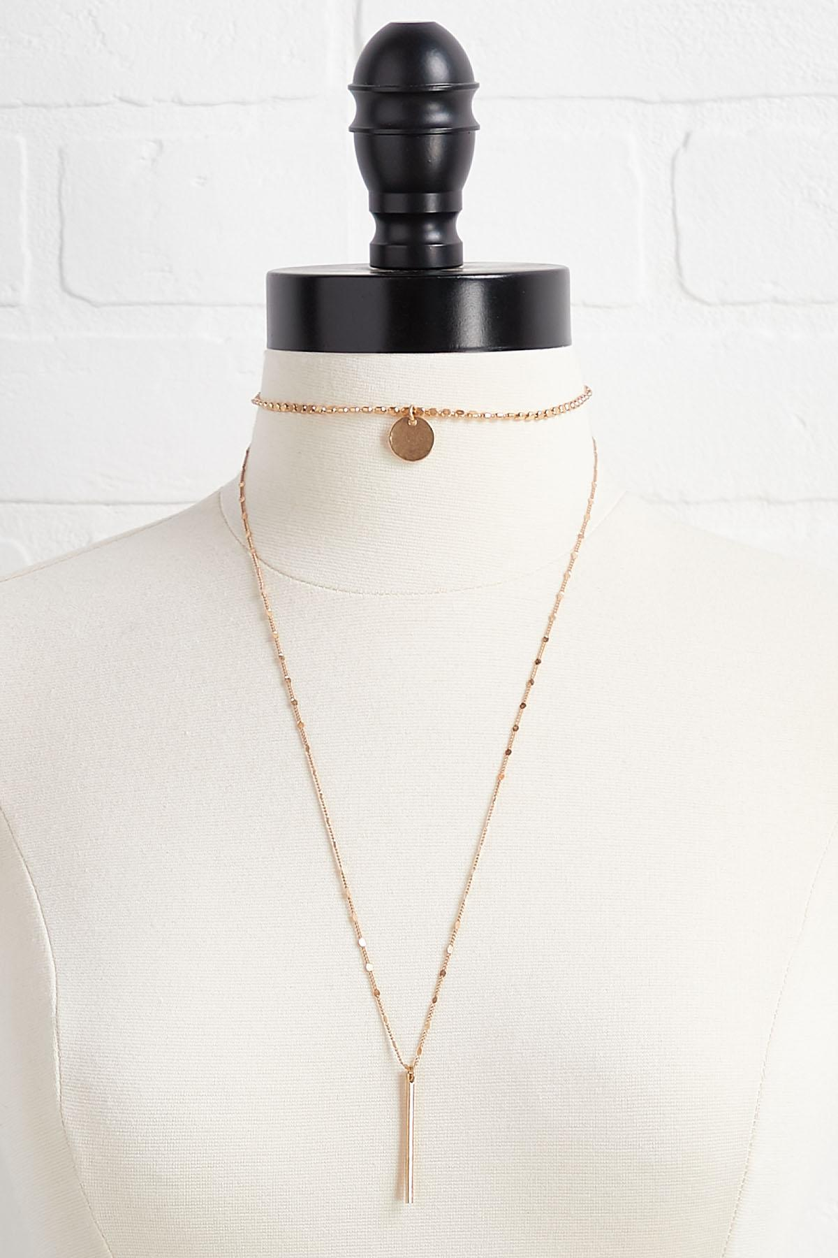 Layered Disk And Bar Necklace