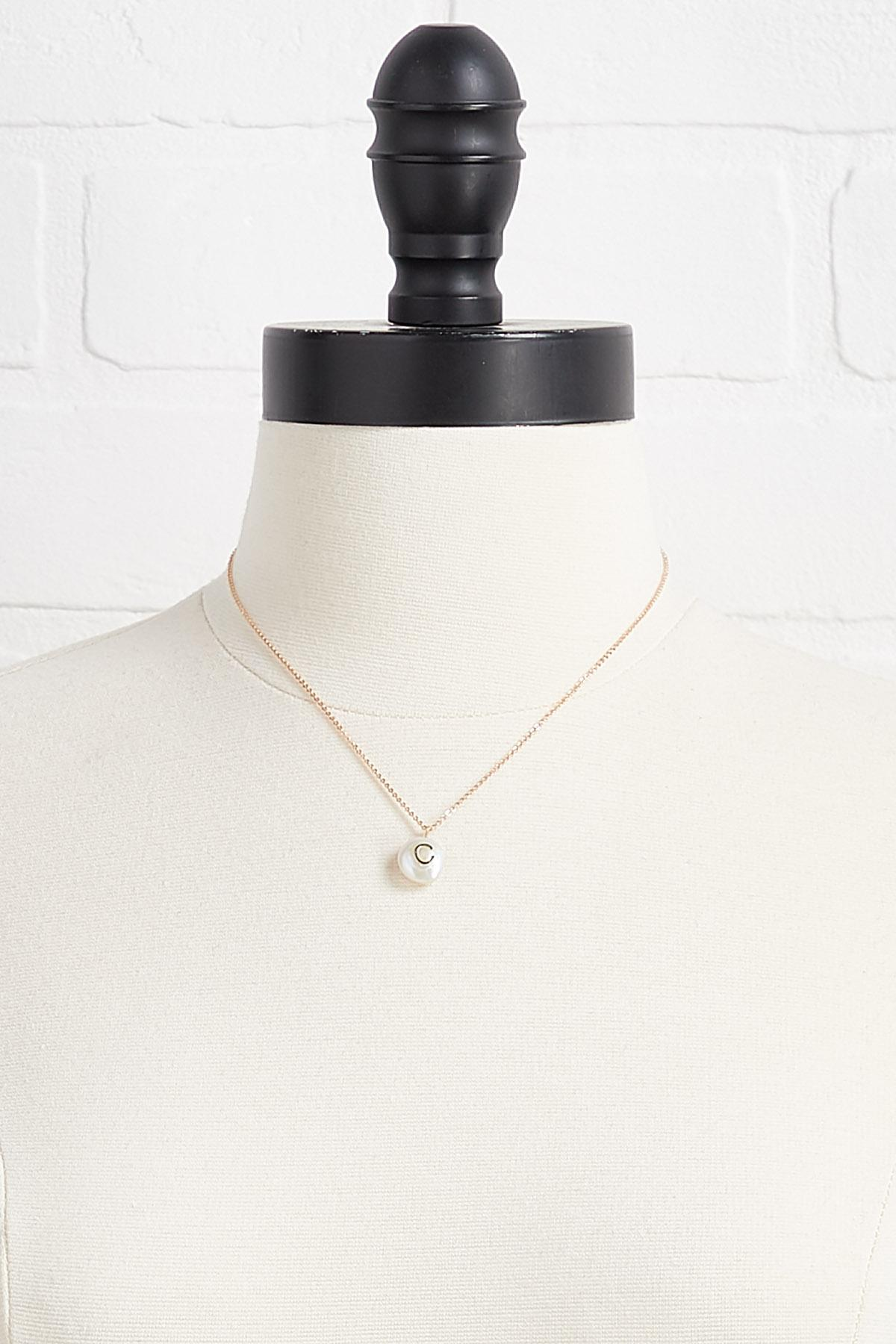 C Initial Pearl Necklace