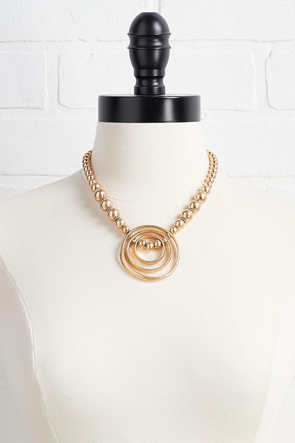 Triple Ring Pendant Necklace