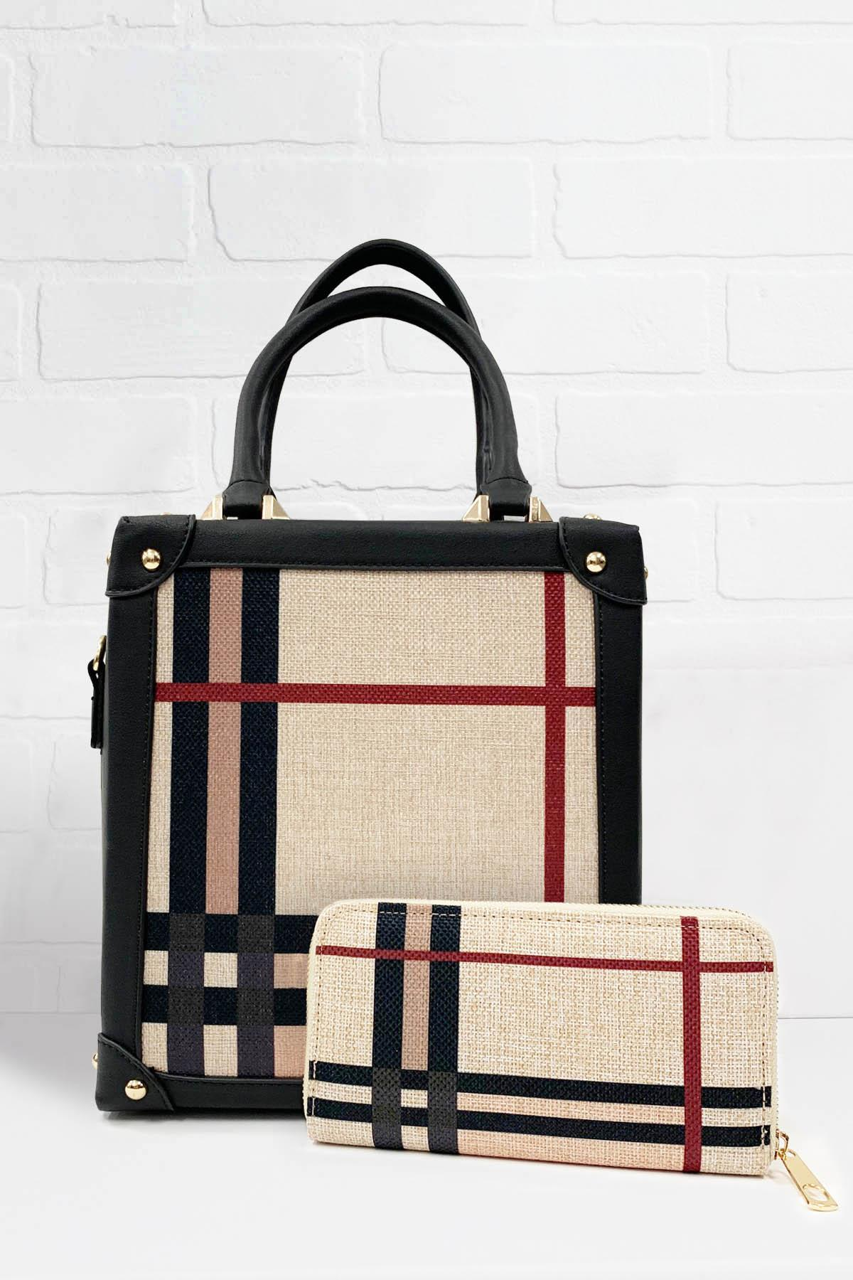 Plaid Bag And Wallet Set