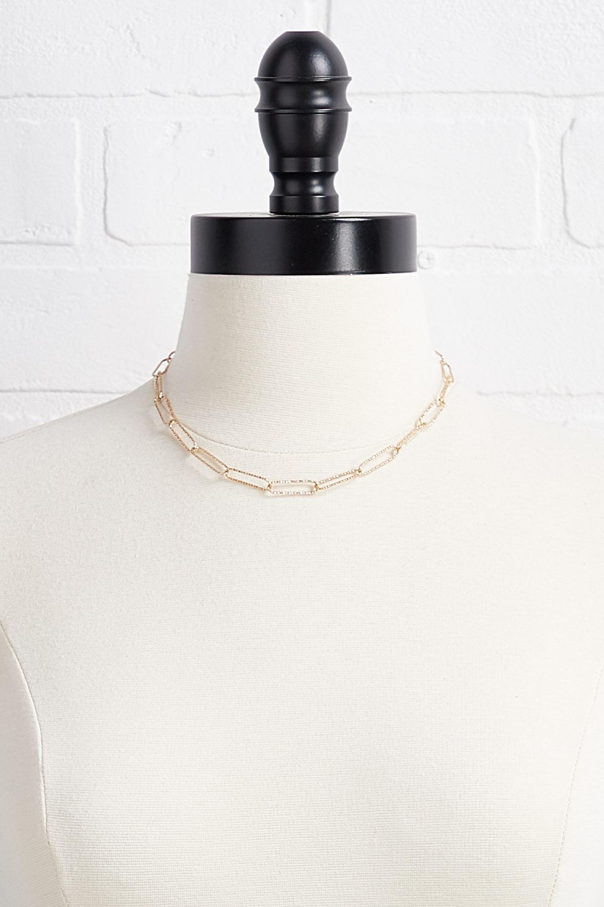 Textured Metal Clip Necklace