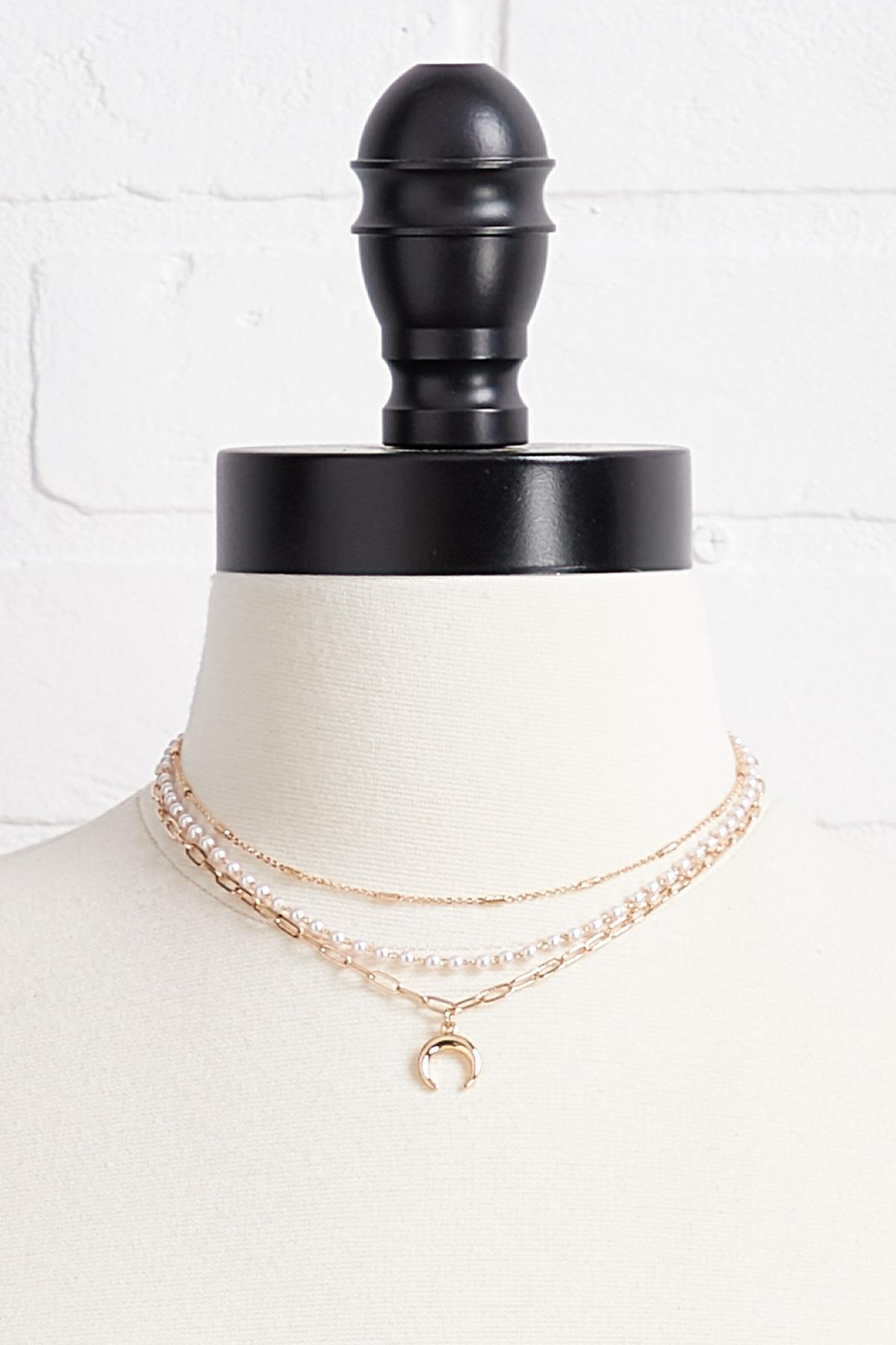 Layered Pearl Charm Necklace