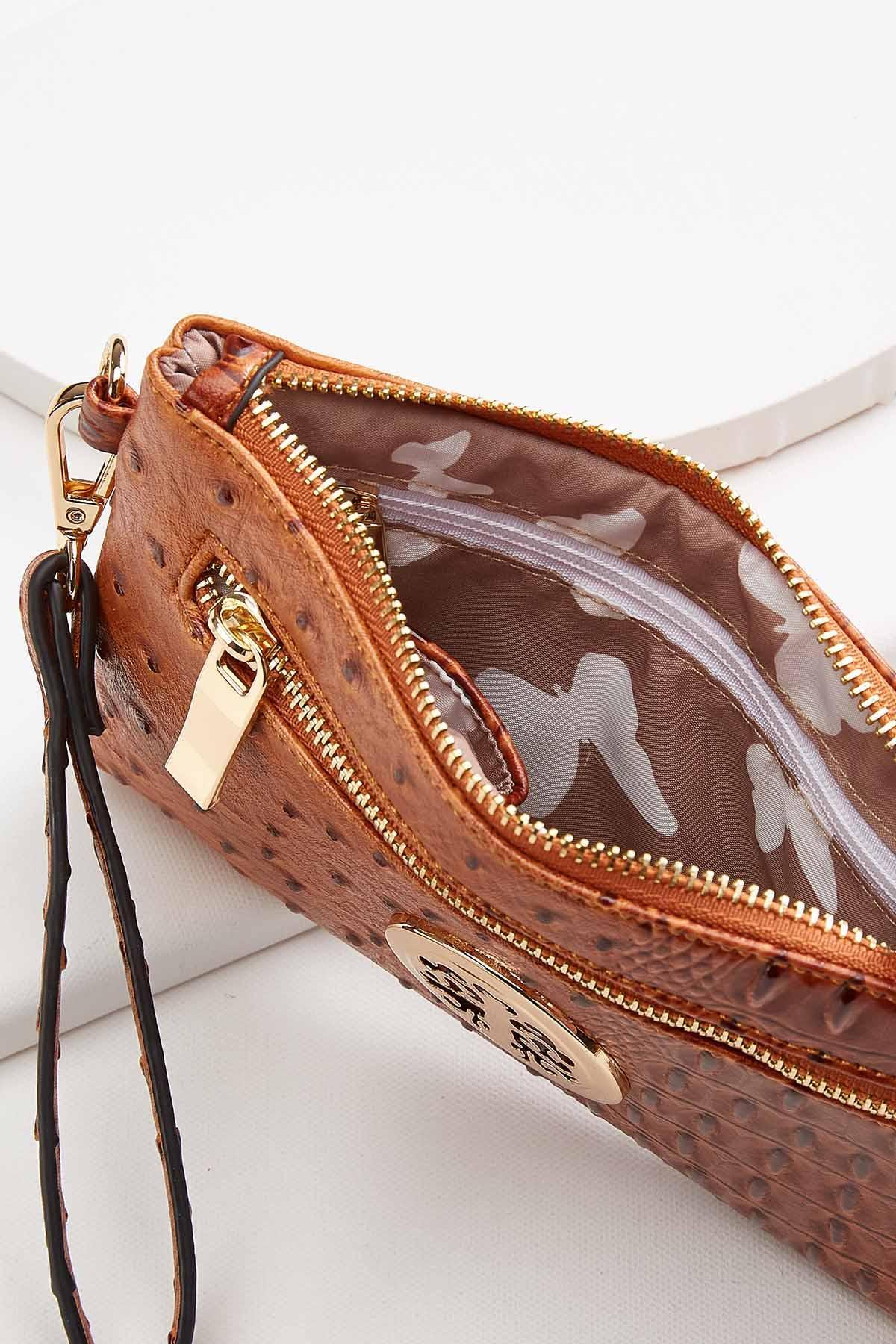 Textured Faux Leather Wristlet