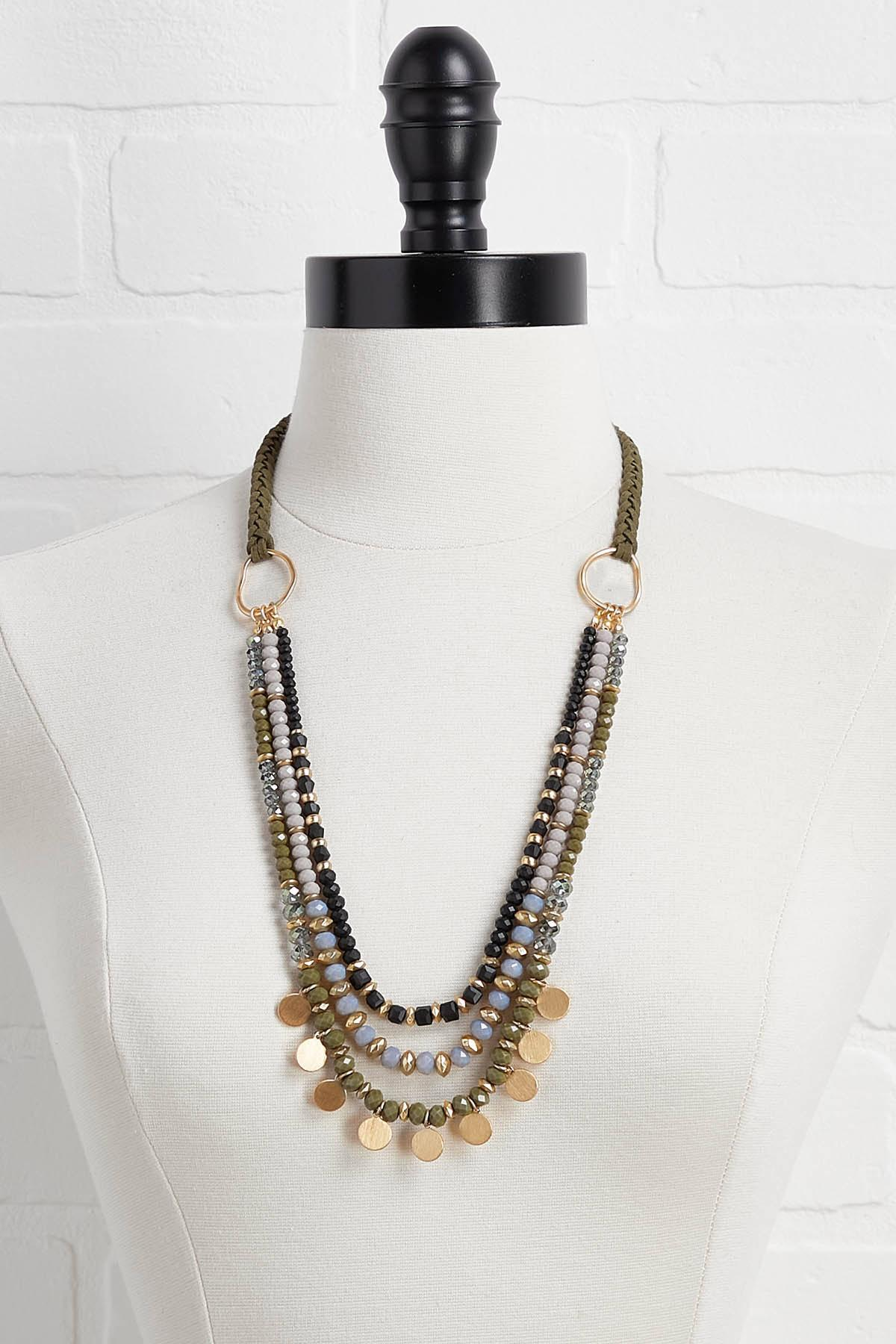 Layered Bead And Coin Necklace