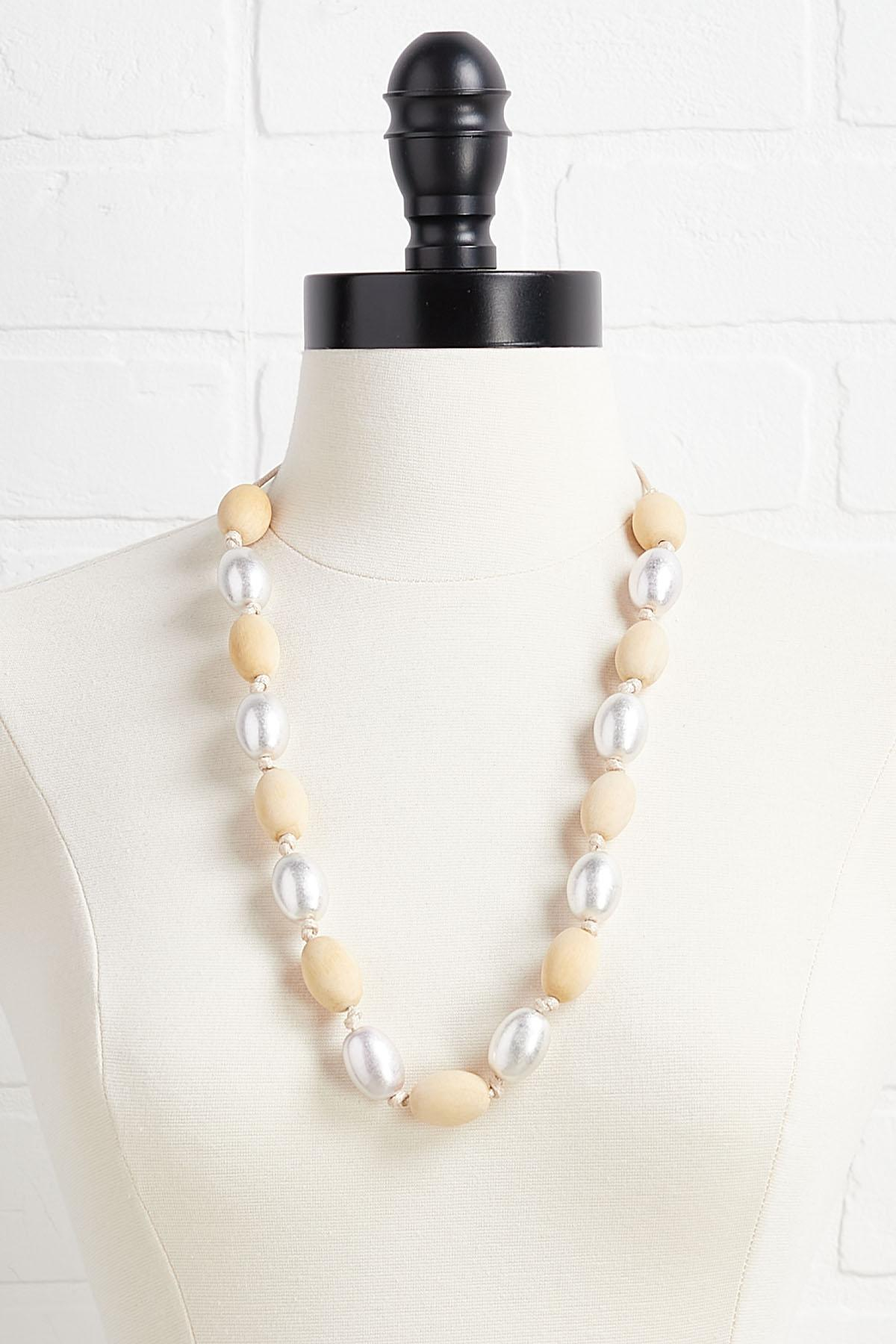 Metal And Wood Bead Necklace