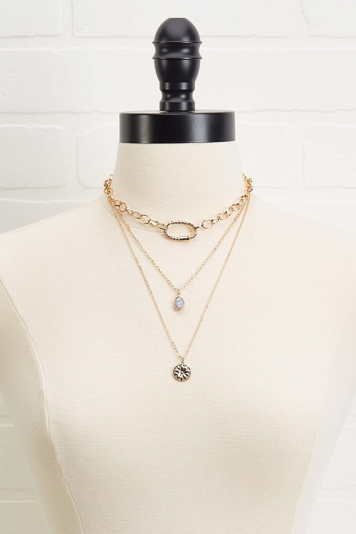 Stone And Chain Layered Necklace