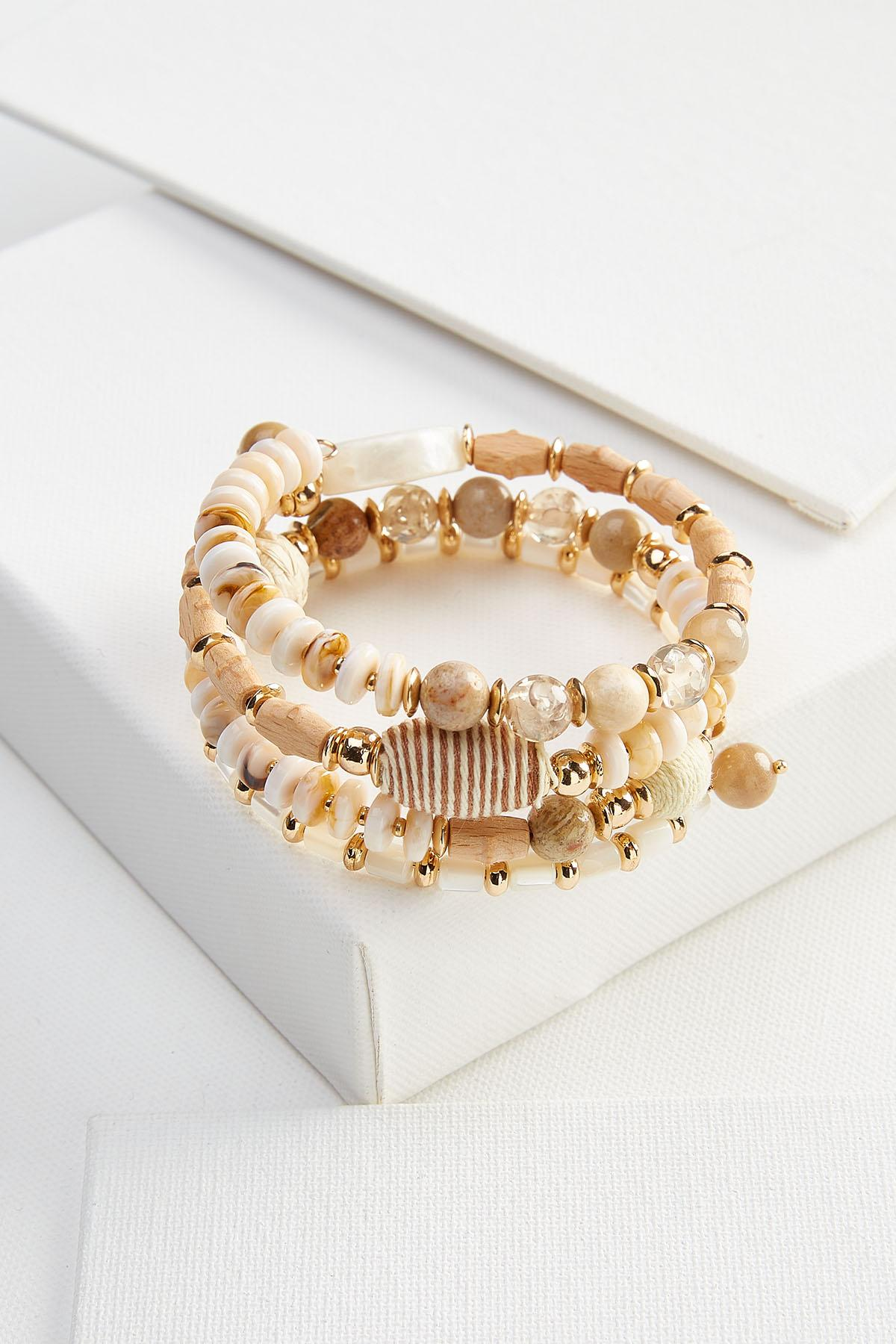 Neutral Wood And Bead Coil Bracelet
