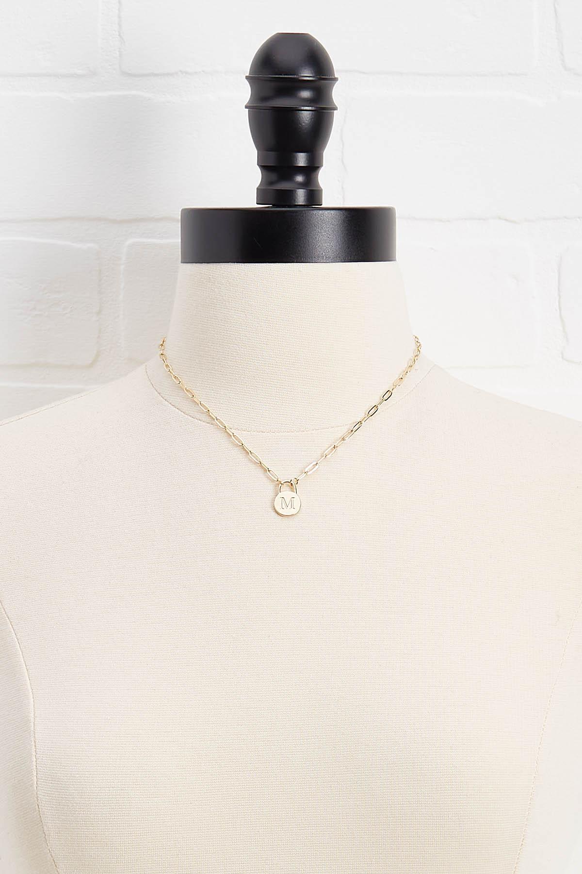 18k M Pendant Necklace