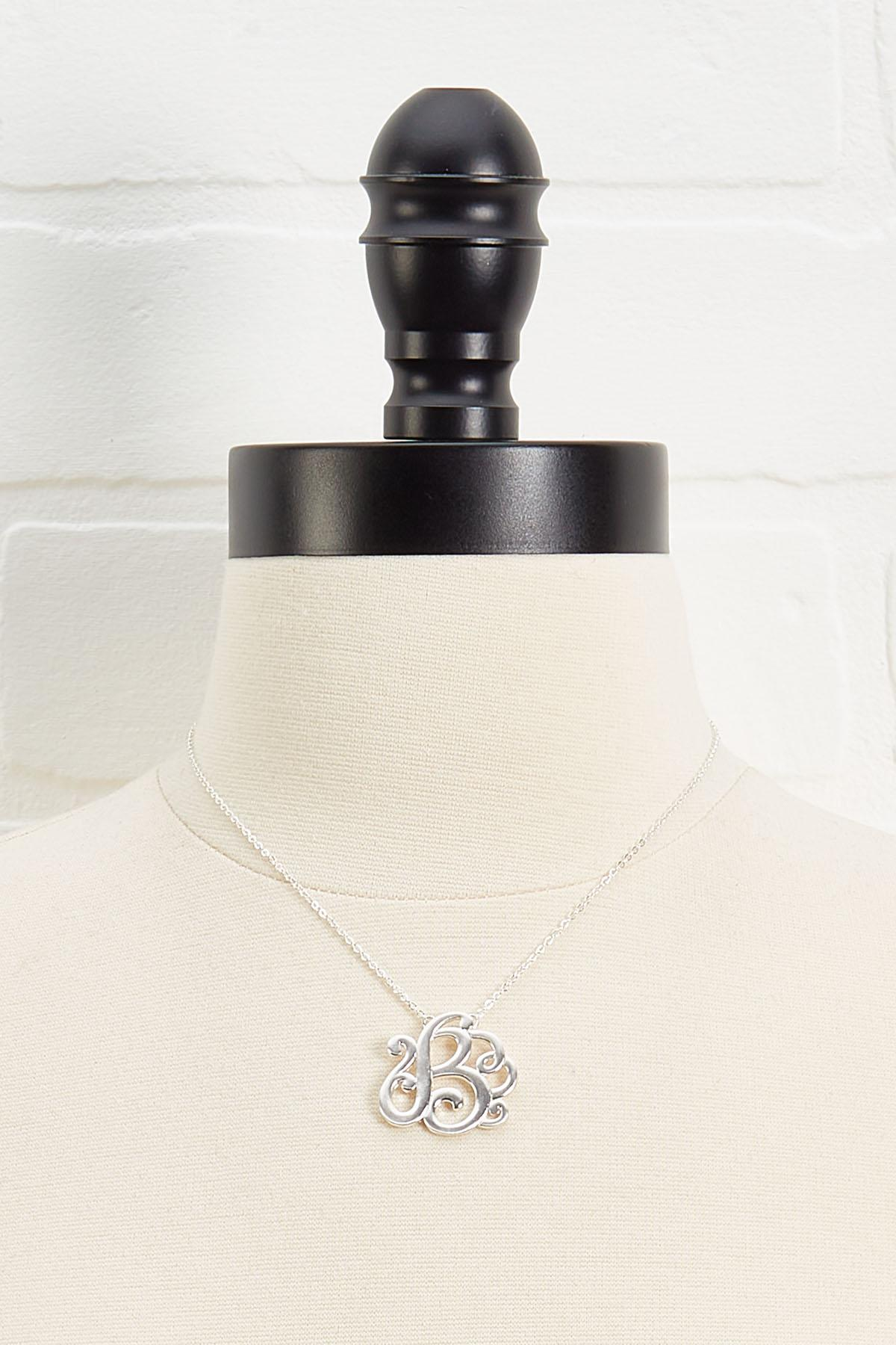 B Scroll Necklace