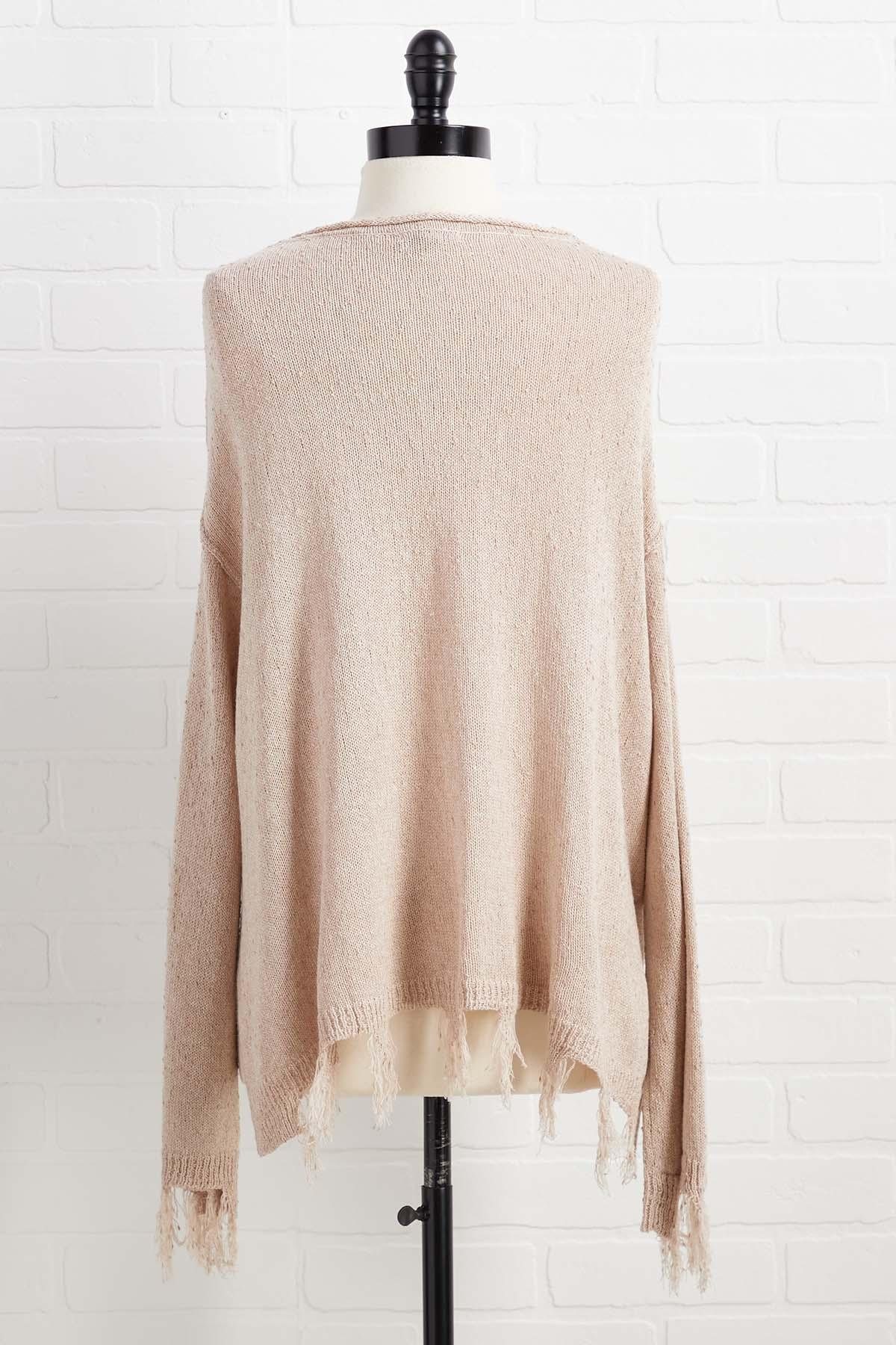 Sit And Fray Awhile Sweater