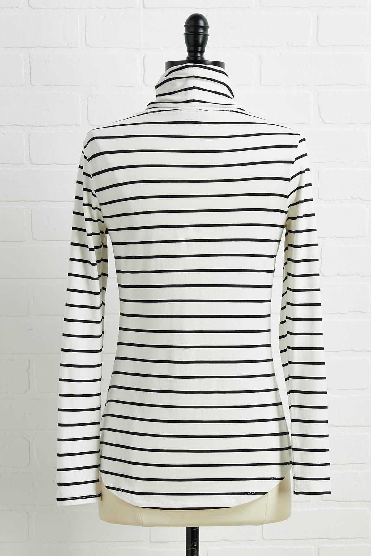 Striped Turtleneck Top