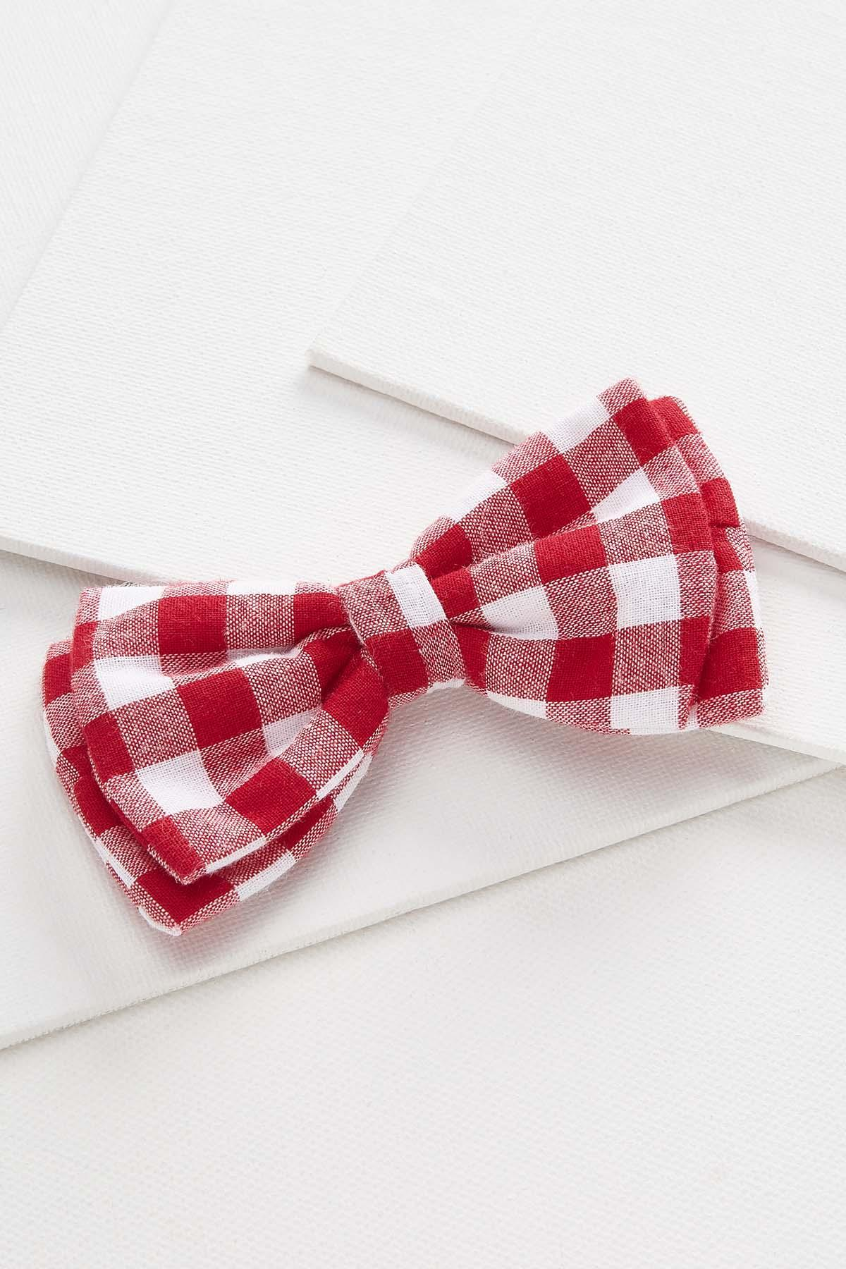 Red Gingham Dog Bow Tie